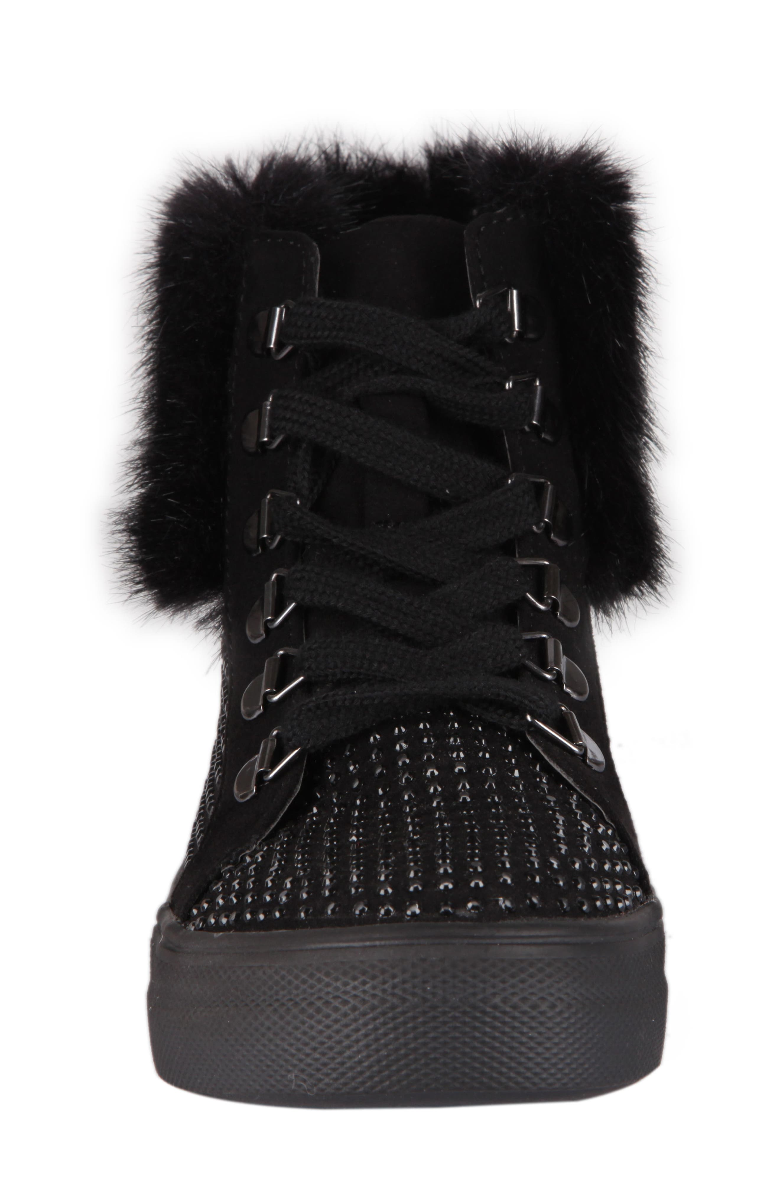 Randi Studded Faux Fur High Top,                             Alternate thumbnail 4, color,                             007