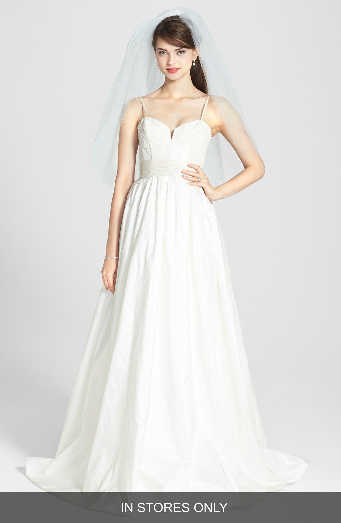 Cameron Lace Appliqué Corset Bodice Silk Taffeta Dress,                         Main,                         color,