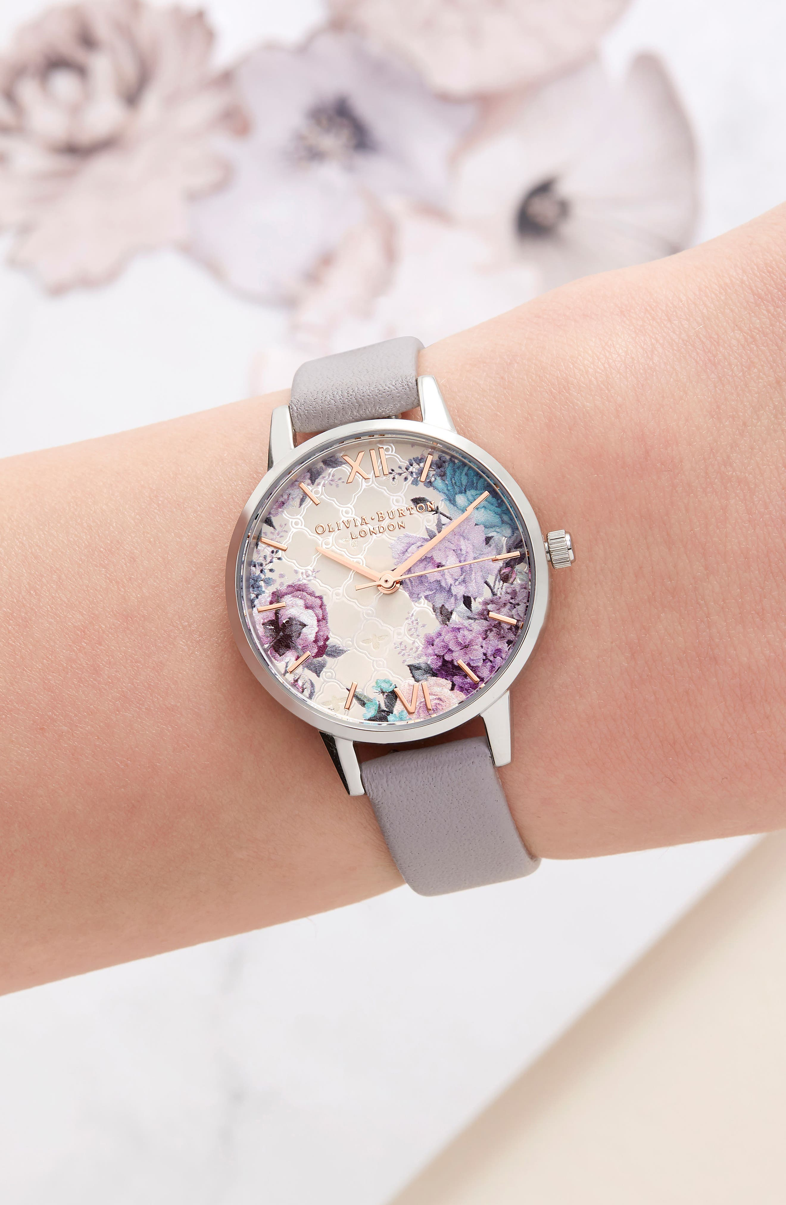 Glasshouse Leather Strap Watch, 30mm,                             Alternate thumbnail 5, color,                             GREY/ FLORAL/ SILVER