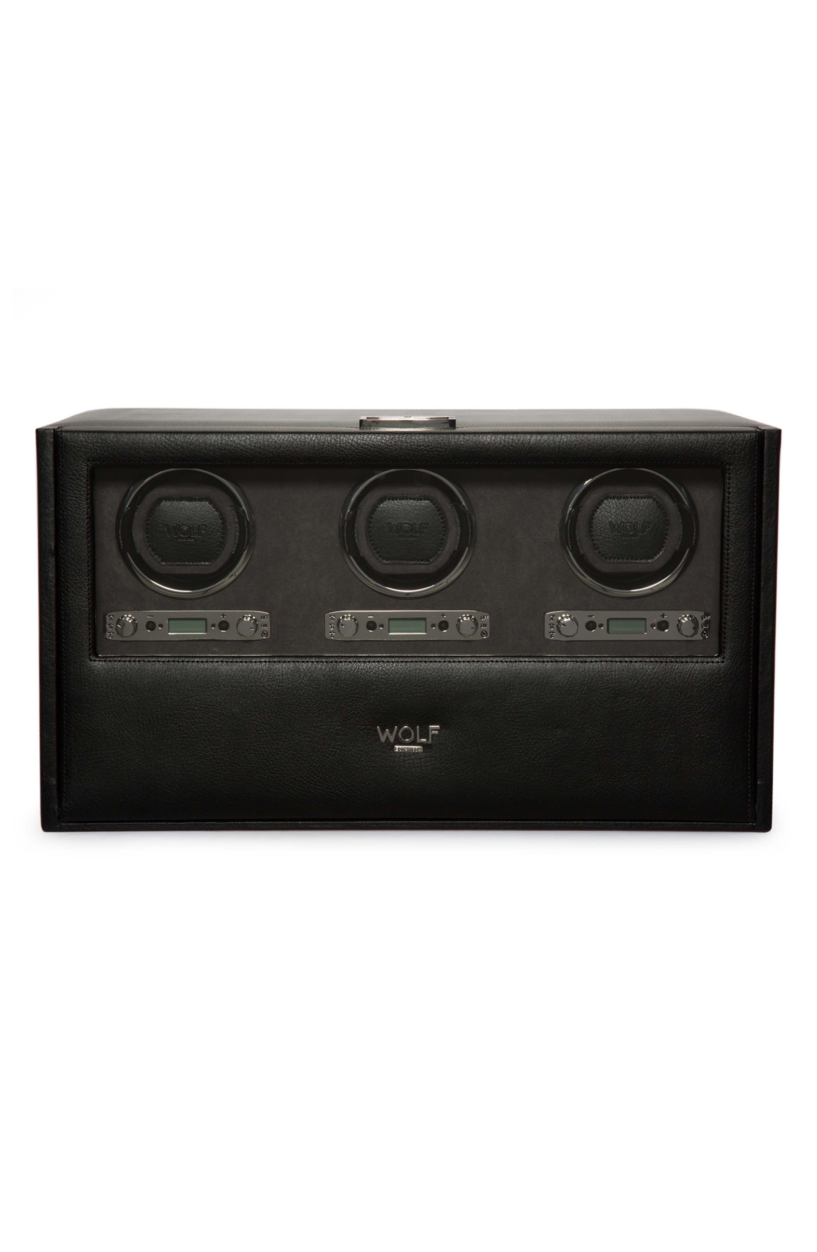 Blake Triple Watch Winder Box,                         Main,                         color, BLACK