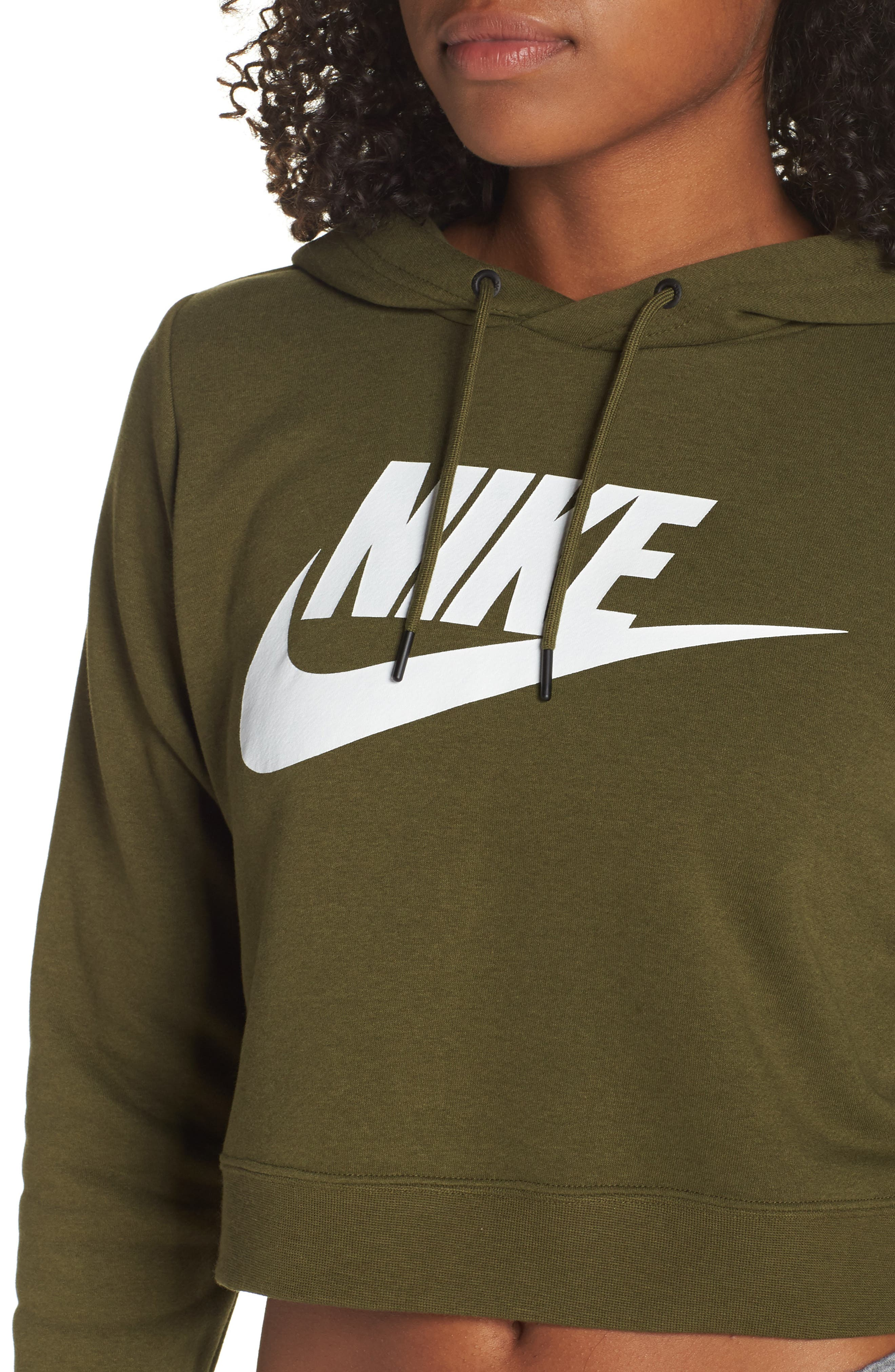 Sportswear Rally Crop Hoodie,                             Alternate thumbnail 4, color,                             OLIVE CANVAS/ WHITE