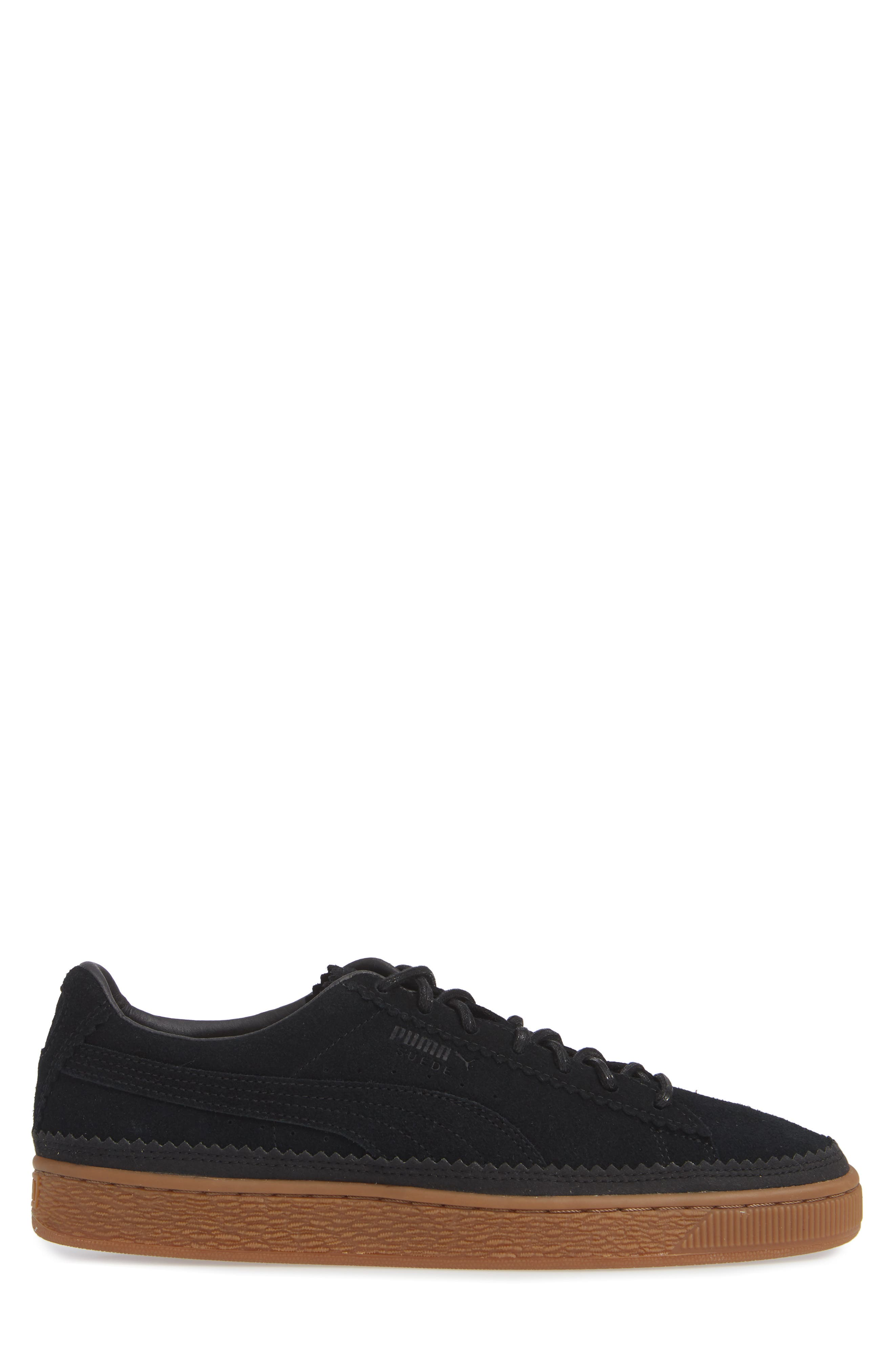 Suede Sneaker,                             Alternate thumbnail 3, color,                             BLACK/ BLACK