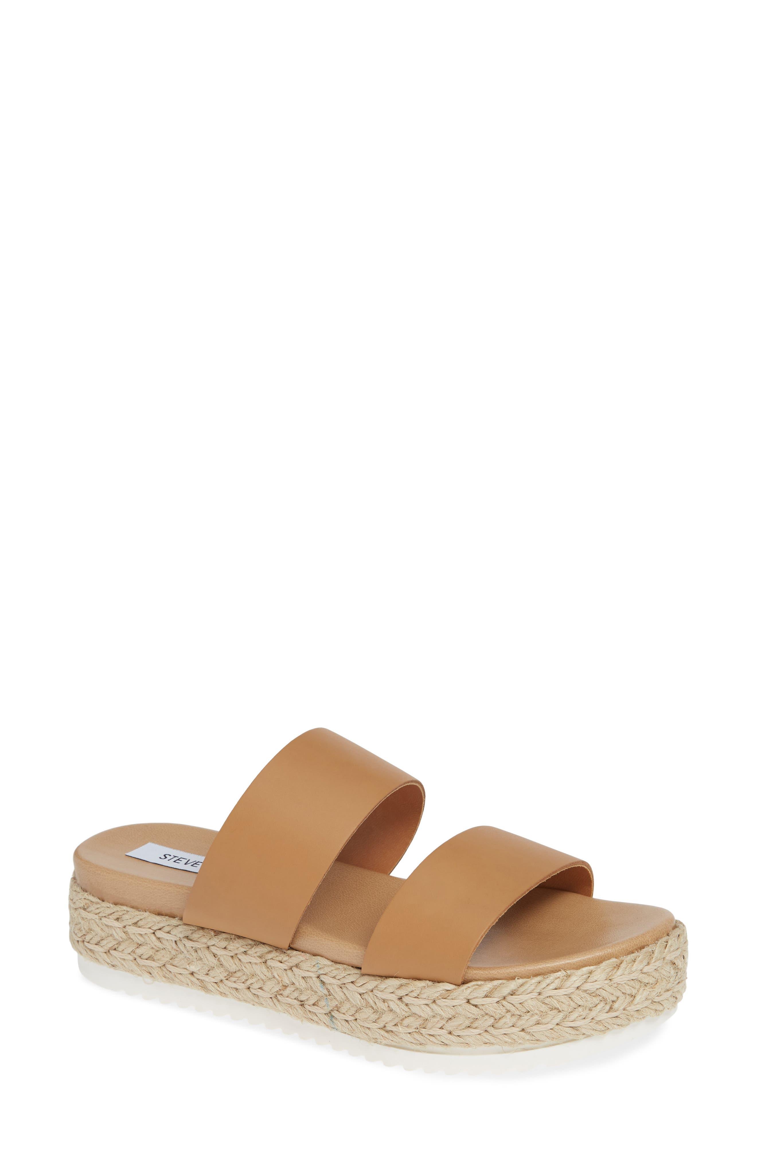 Amaze Platform Slide Sandal,                         Main,                         color, NATURAL LEATHER
