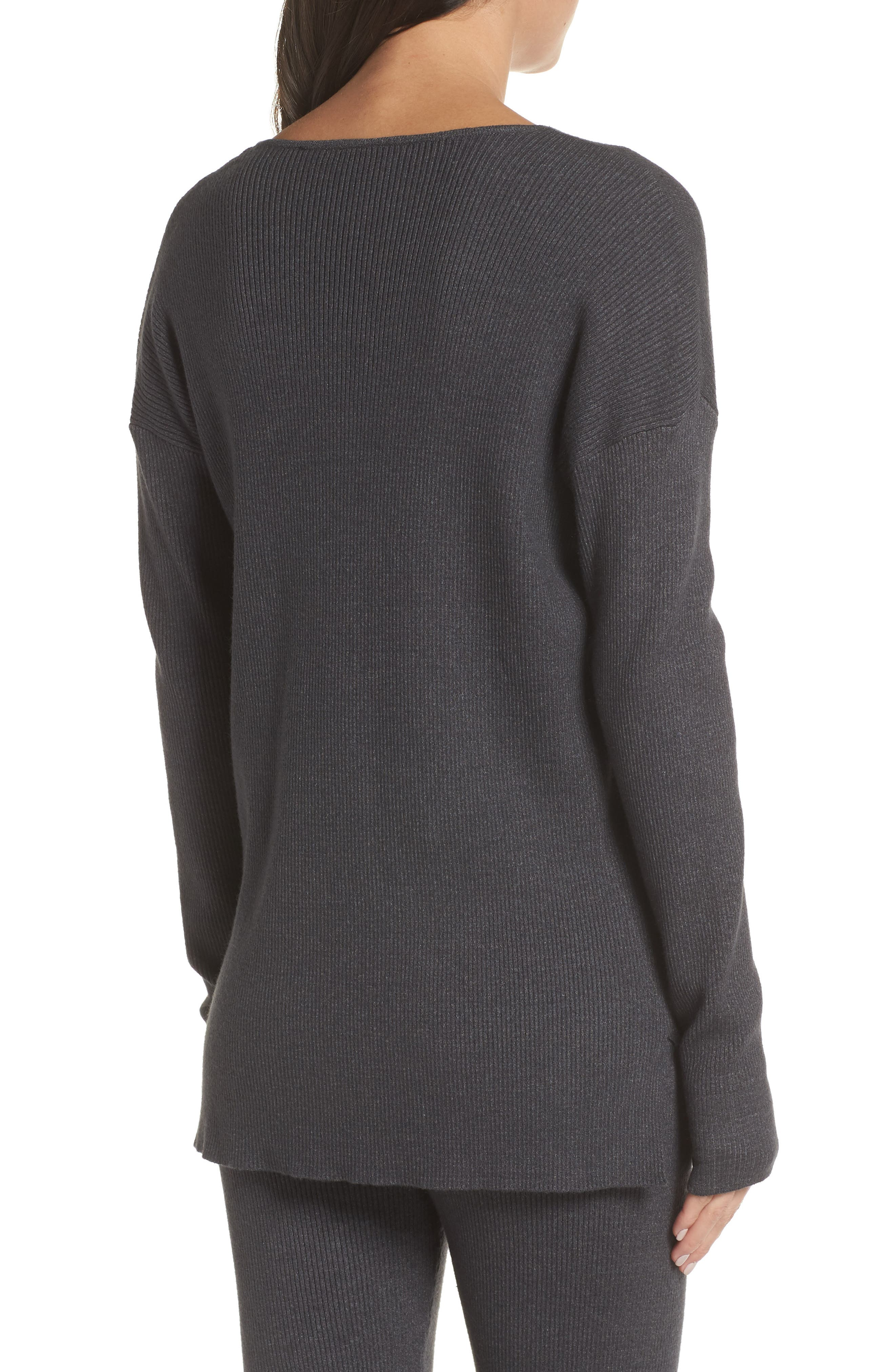 Rib Knit Pullover,                             Alternate thumbnail 2, color,                             GREY MED CHARCOAL HEATHER