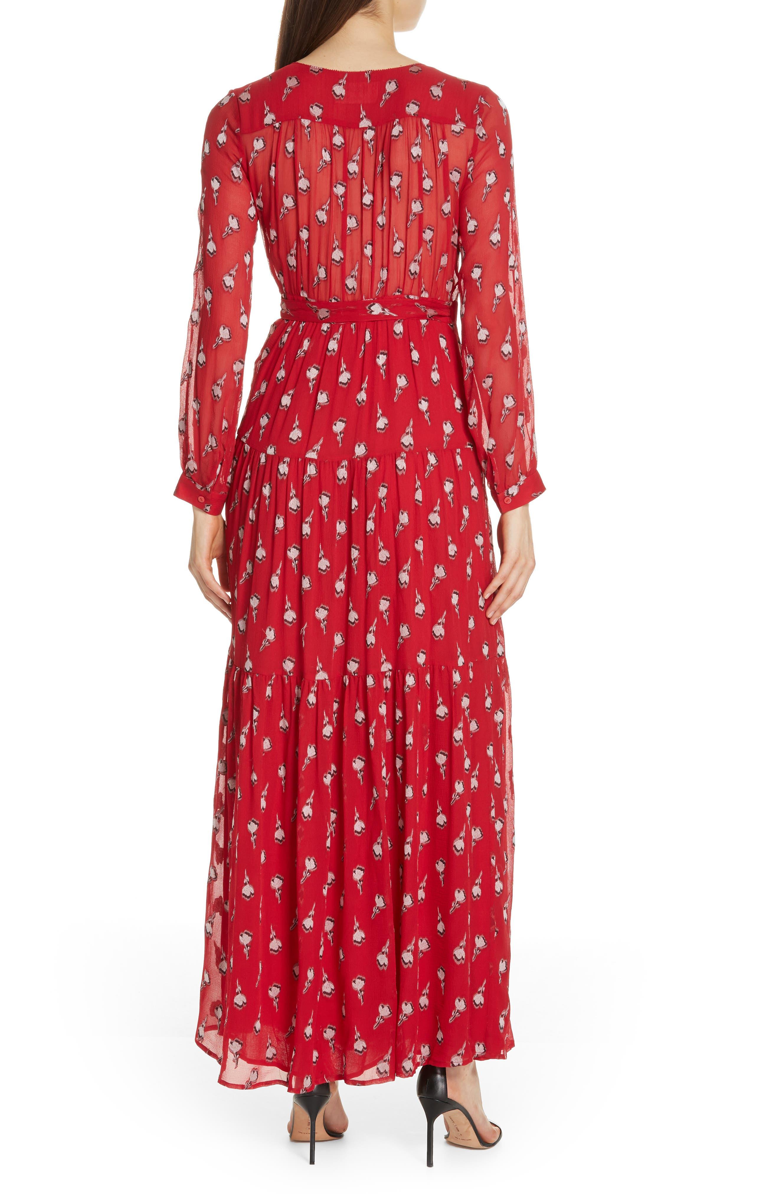 Madona Floral Surplice Silk Blend Chiffon Maxi Dress,                             Alternate thumbnail 2, color,                             600