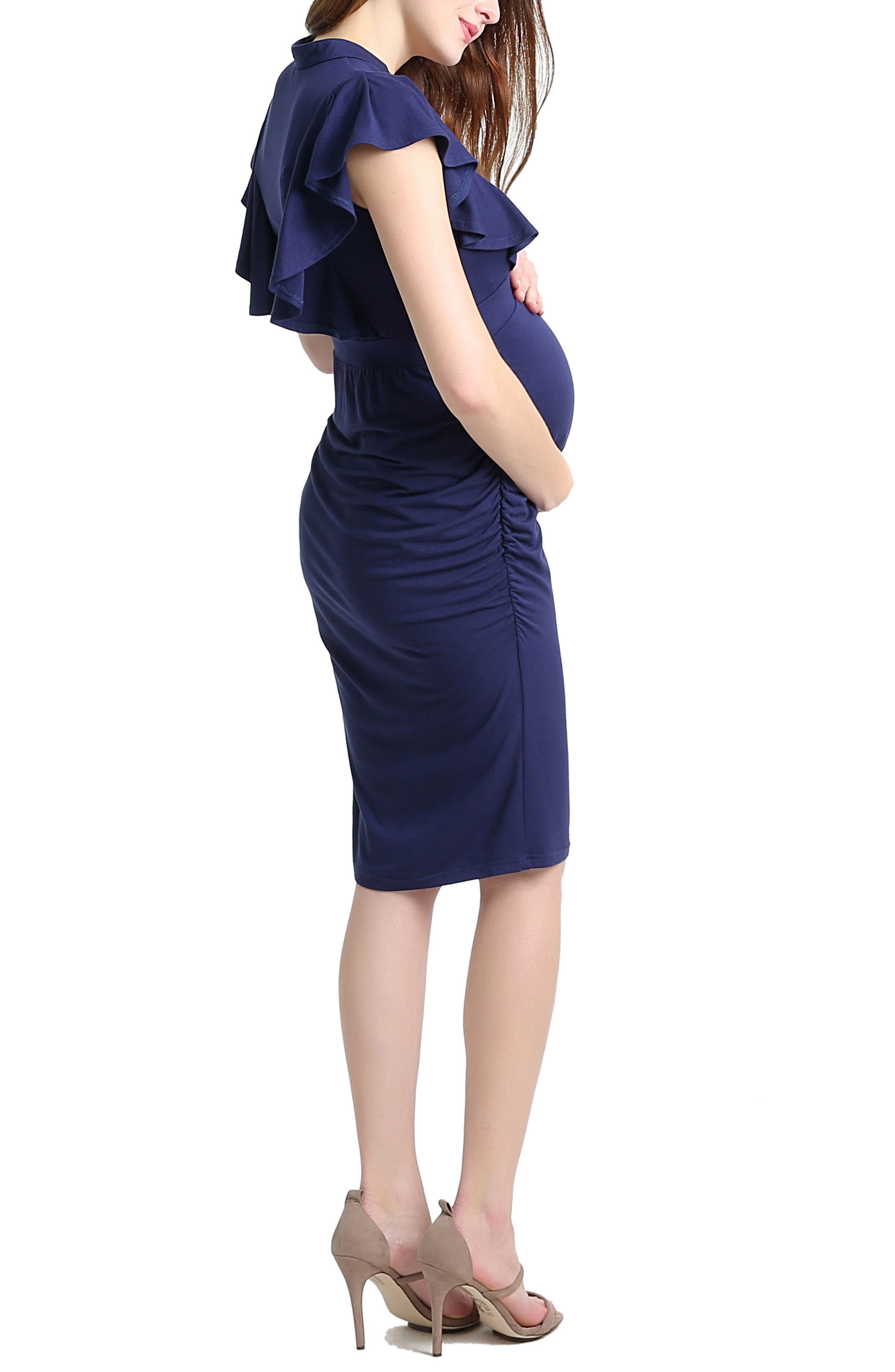 Kimi & Kai Danica Body-Con Maternity Dress,                             Alternate thumbnail 2, color,                             NAVY