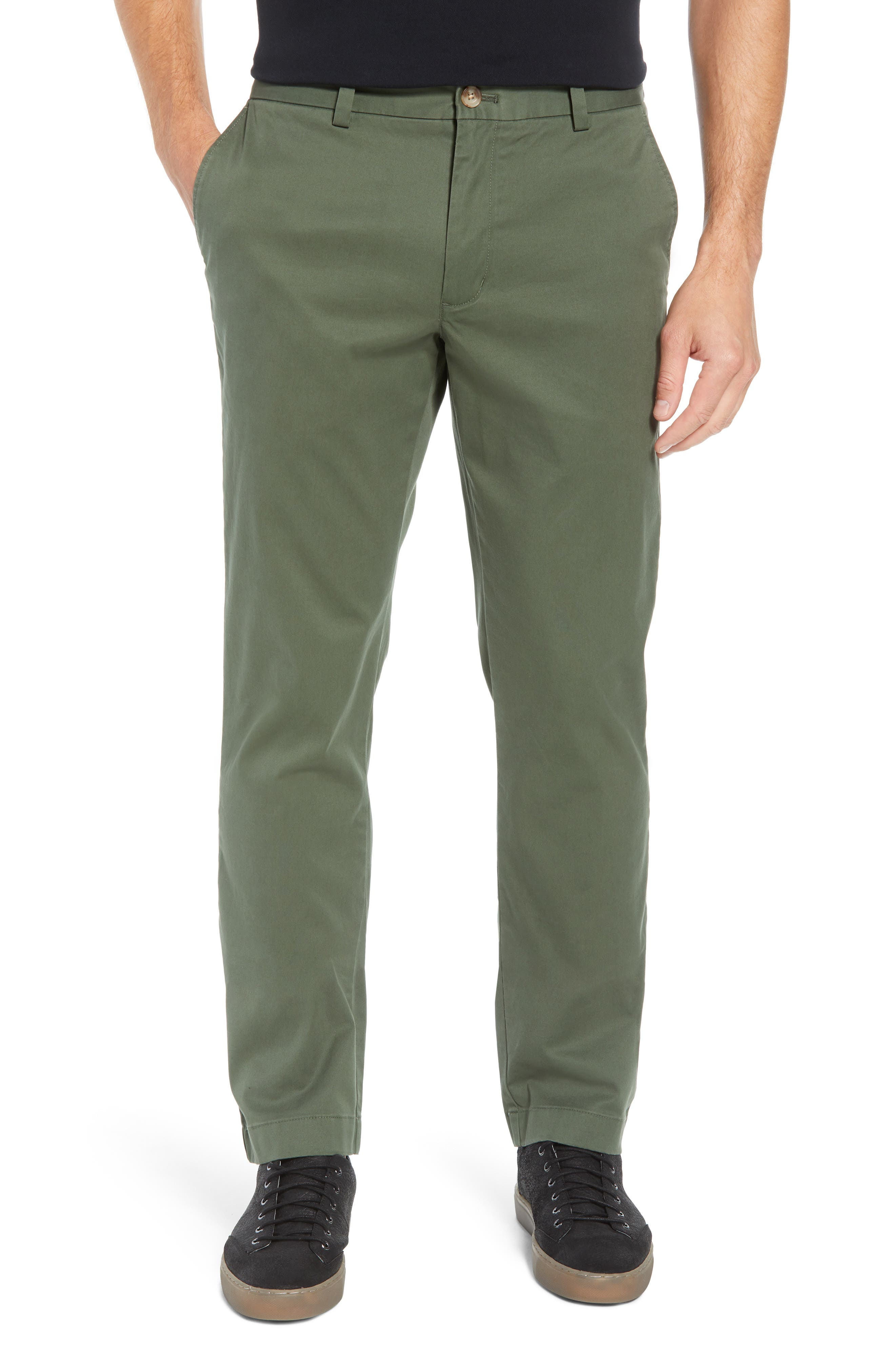 Breaker Flat Front Stretch Cotton Pants,                         Main,                         color, CARGO GREEN