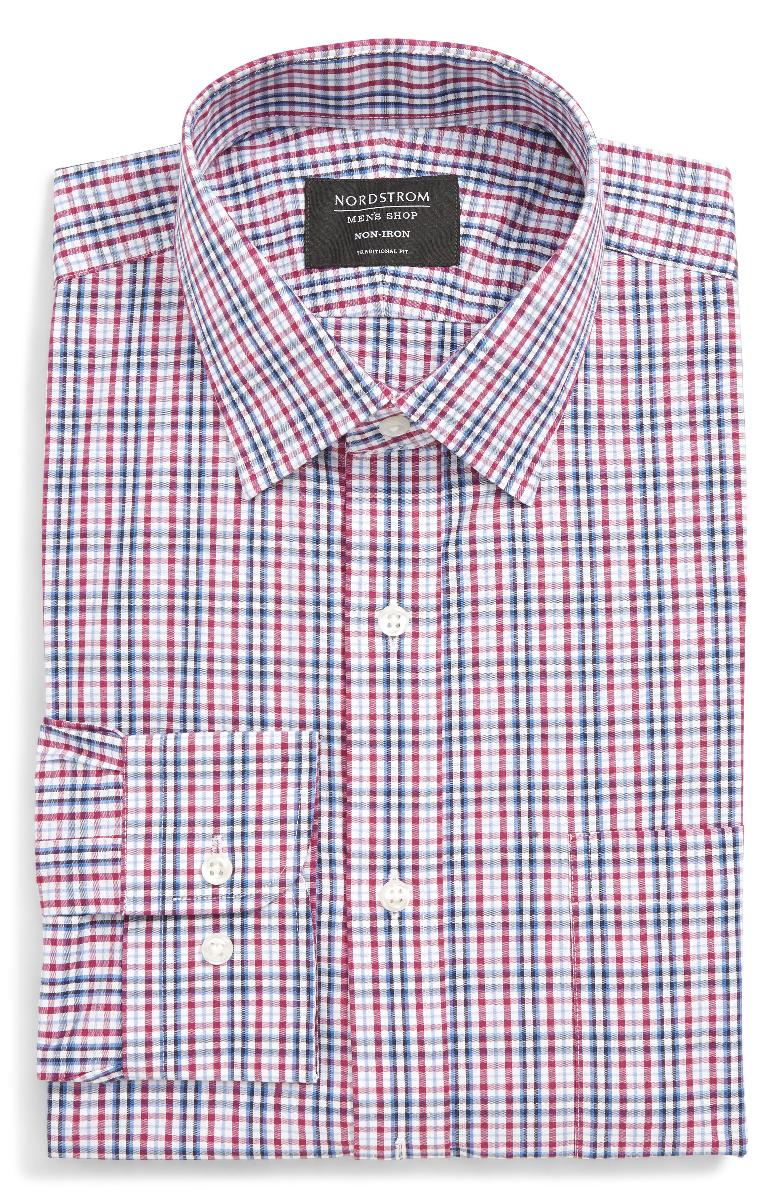 Traditional Fit Non-Iron Plaid Dress Shirt, Main, color, PURPLE BOYSEN