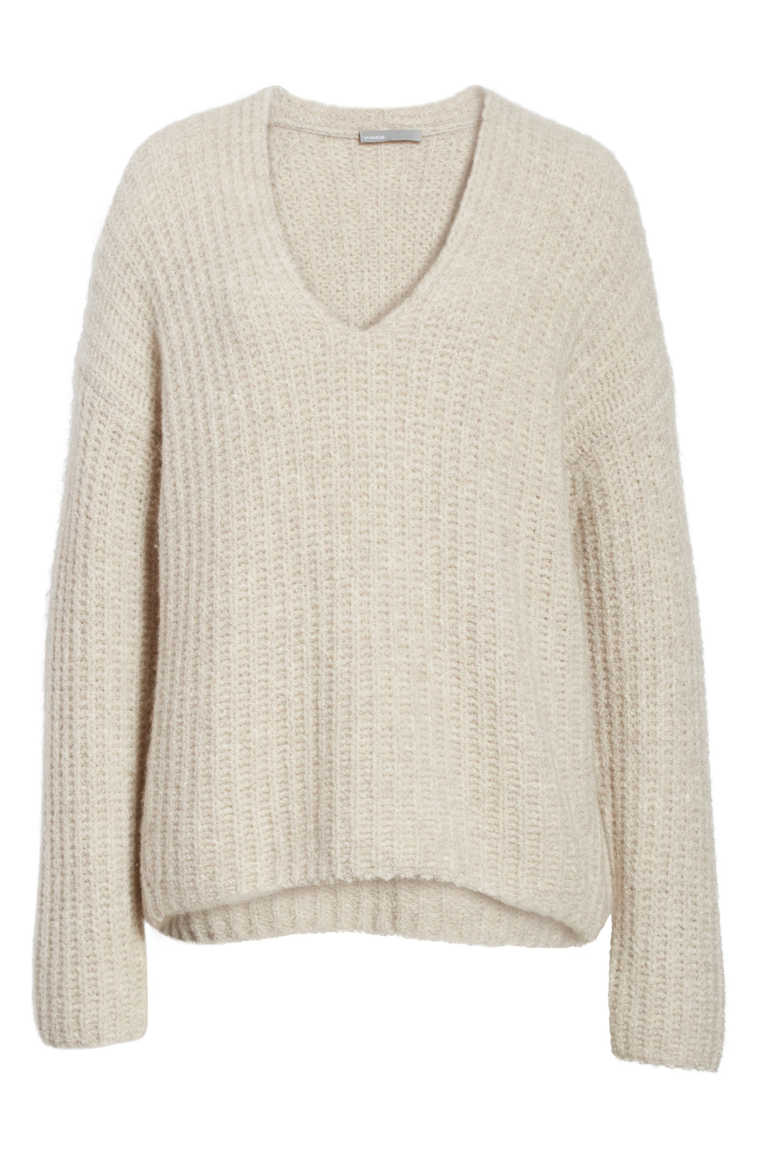 Deep V-Neck Cashmere Blend Sweater,                             Alternate thumbnail 6, color,                             255