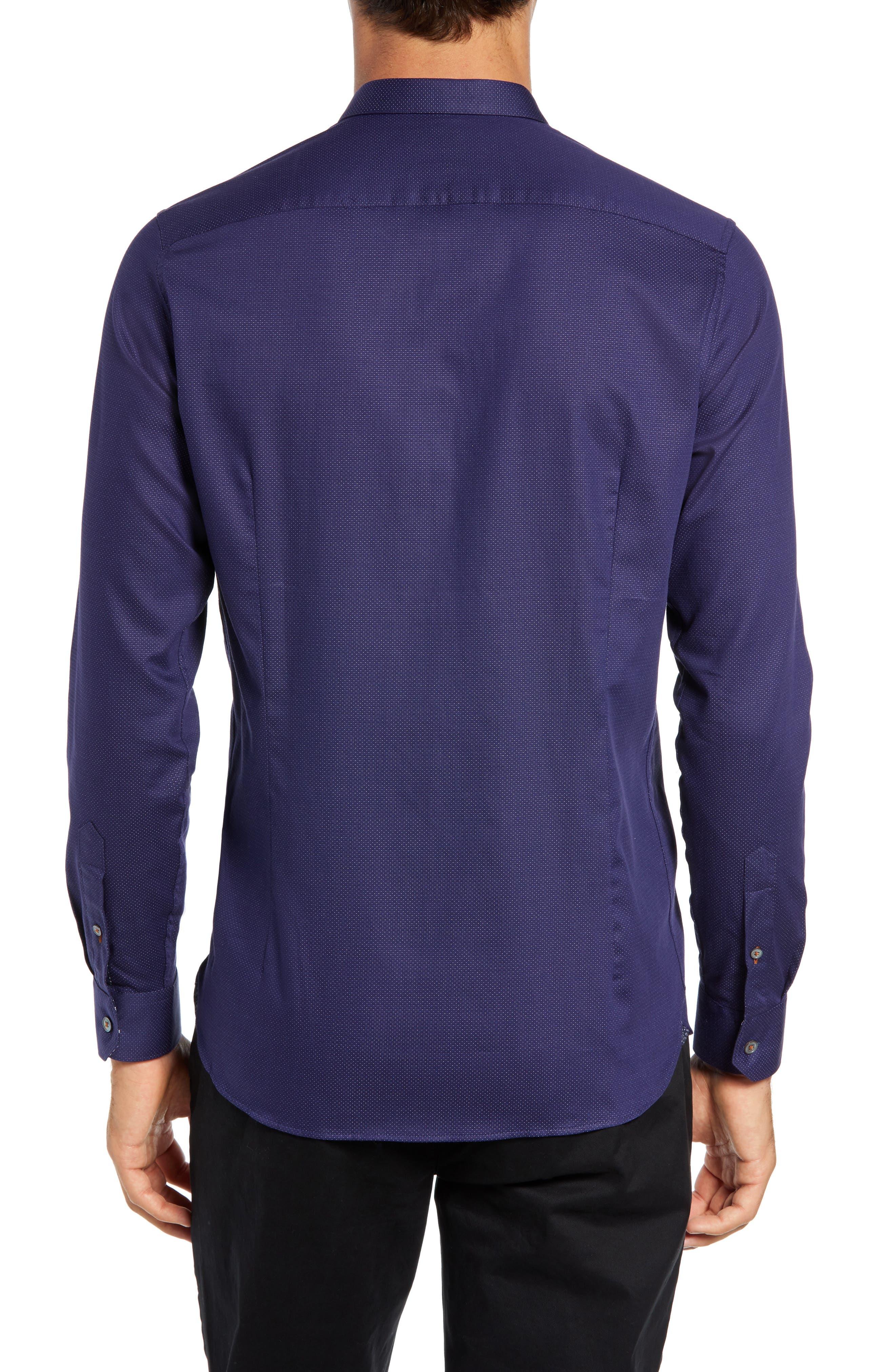 Surrey Q Slim Fit Sport Shirt,                             Alternate thumbnail 3, color,                             NAVY