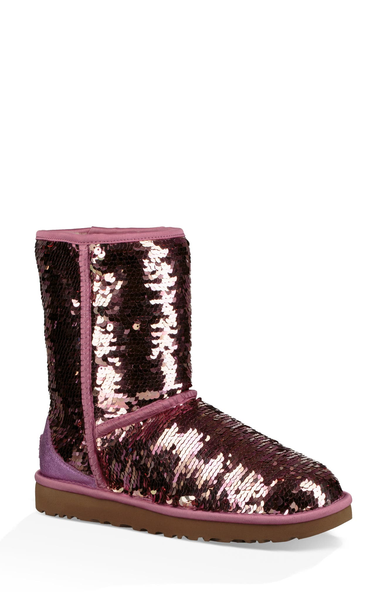 UGG<SUP>®</SUP>,                             Classic Short Sequin Boot,                             Alternate thumbnail 8, color,                             PINK