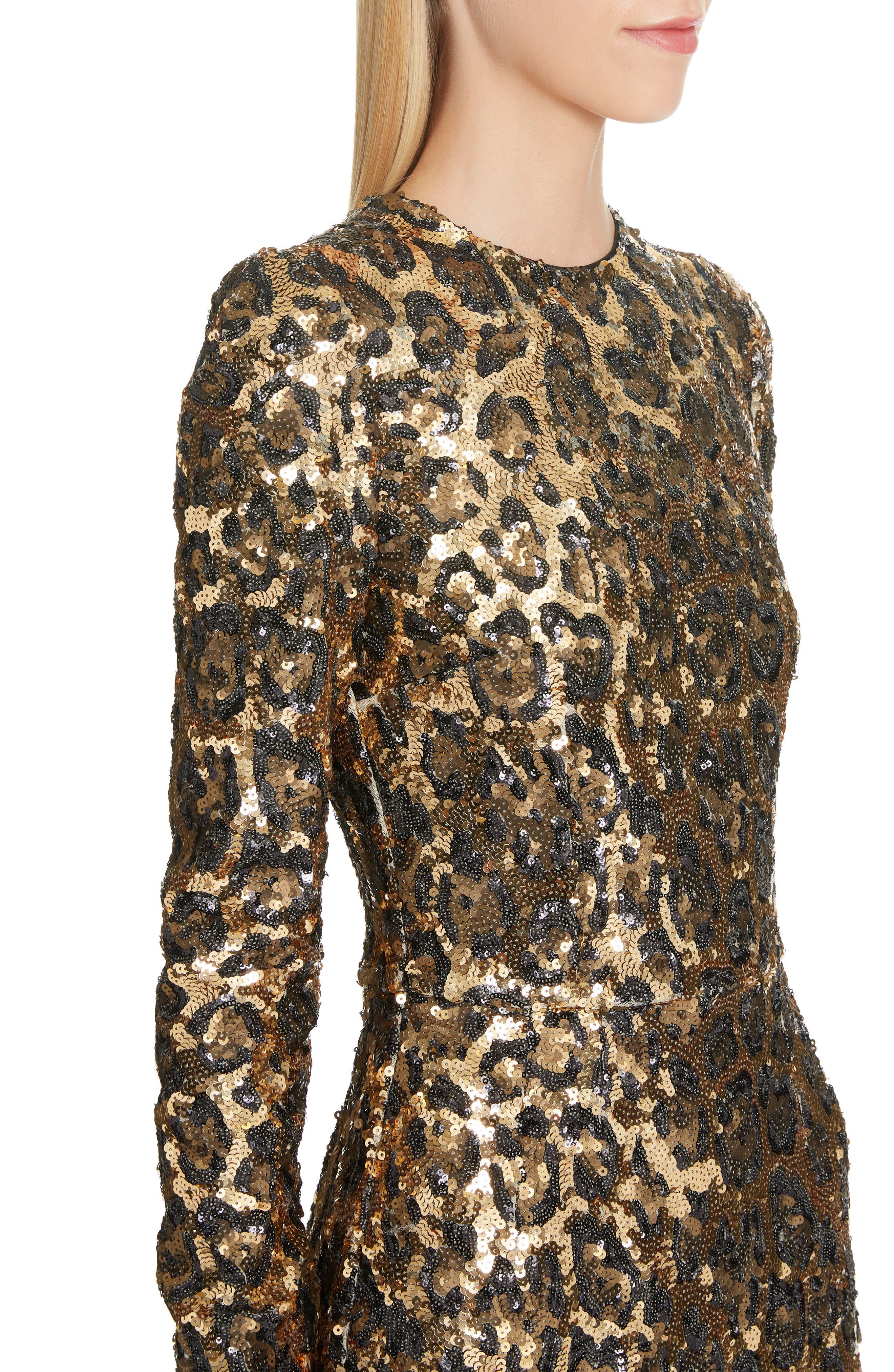 Sequin Leopard Print Sheath Dress,                             Alternate thumbnail 4, color,                             S0905 LEO