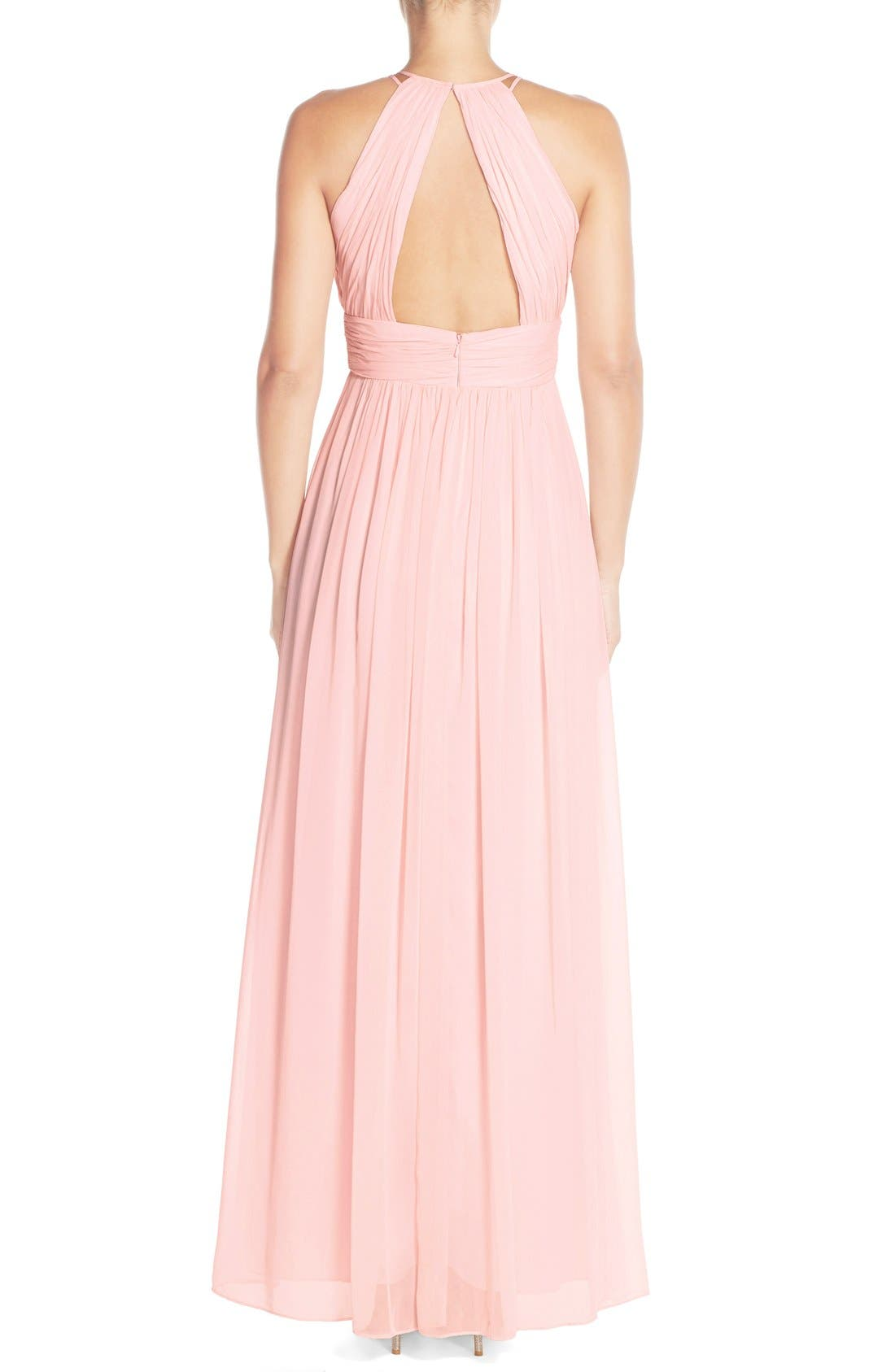 Dessy Collection Ruched Chiffon Open Back Halter Gown,                             Alternate thumbnail 5, color,                             686