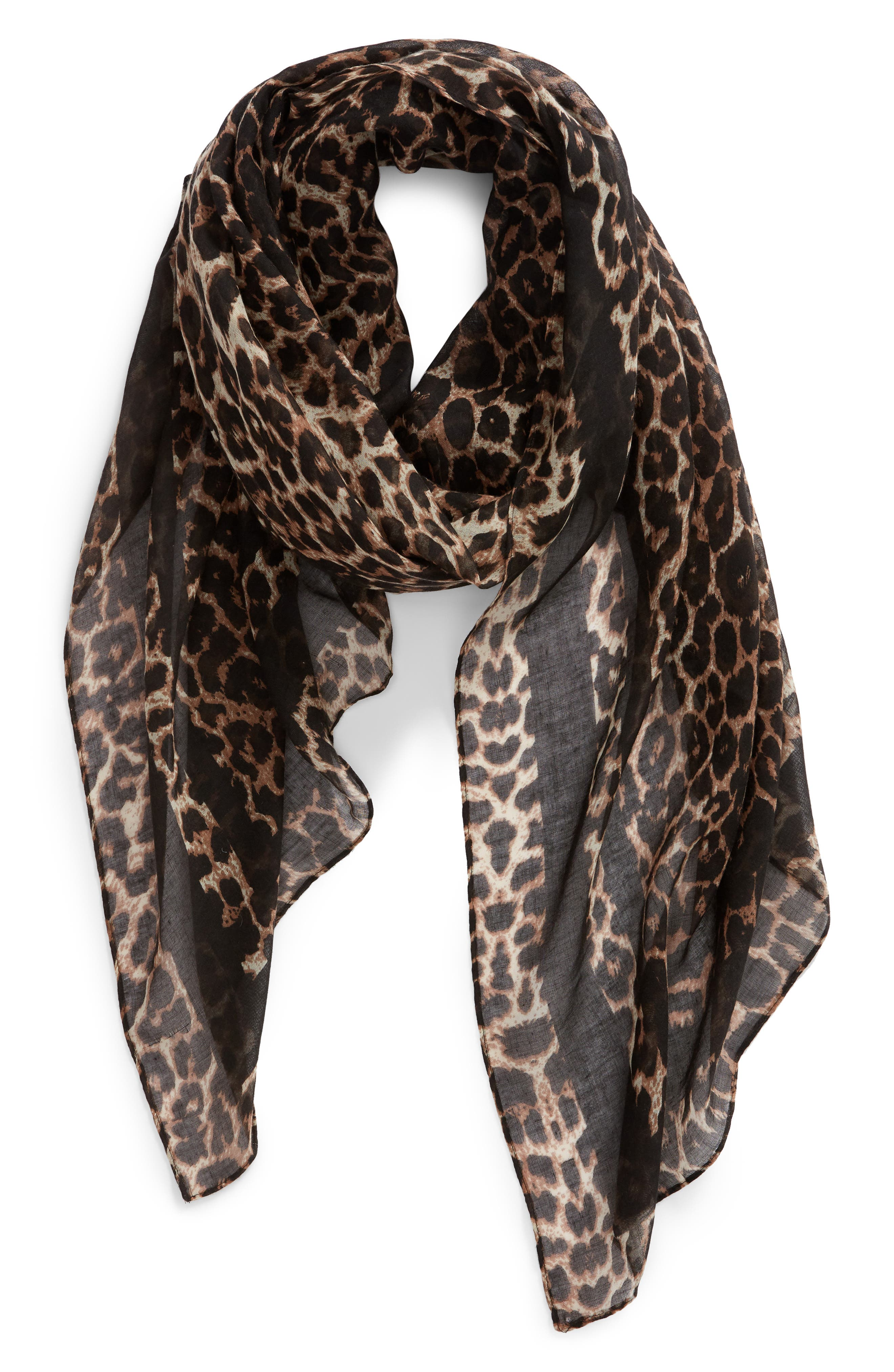 Leopard Print Oblong Scarf,                             Alternate thumbnail 2, color,                             BROWN MULTI