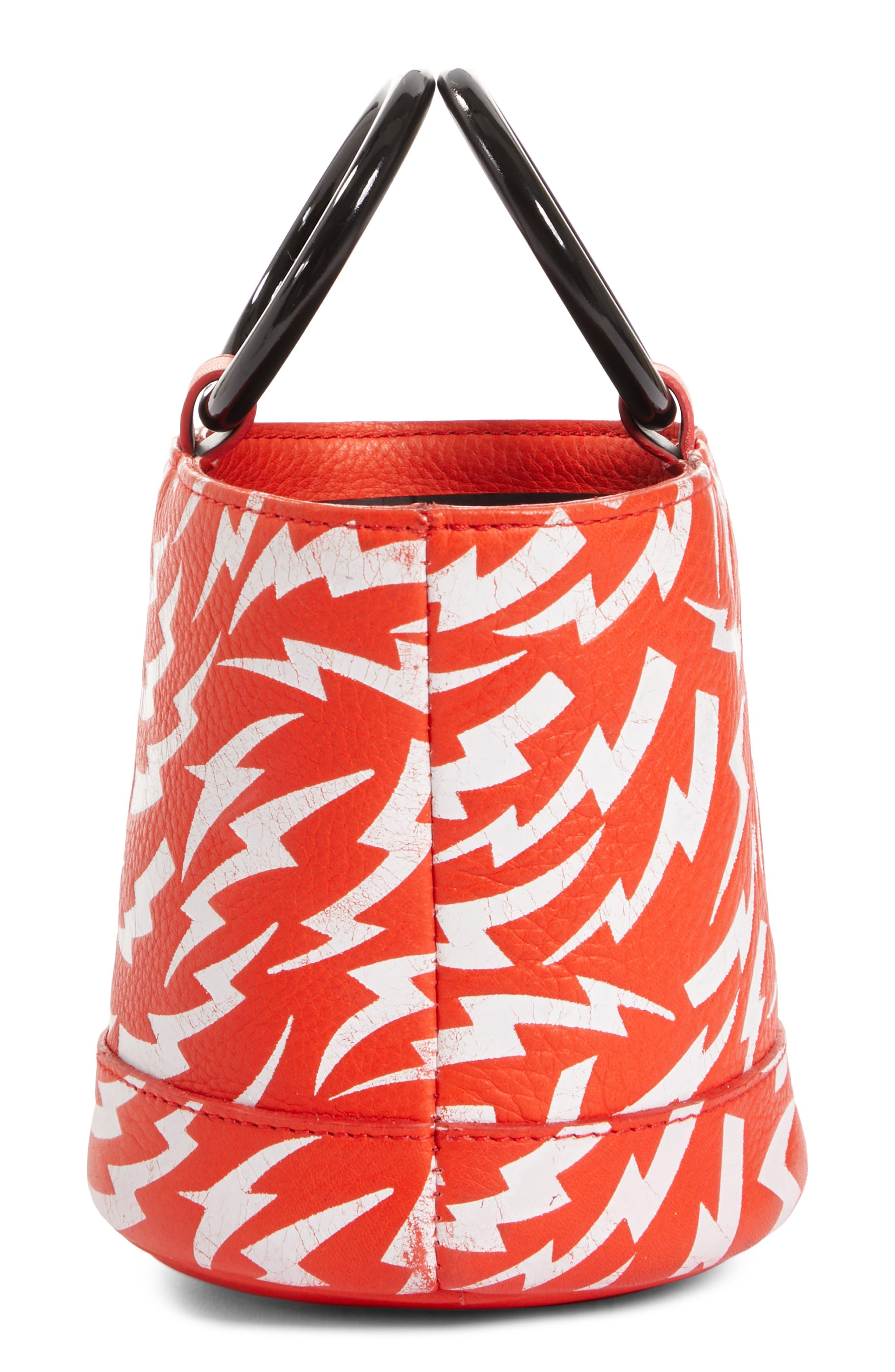 x Paramount Grease Bonsai 15 Lightning Print Bucket Bag,                             Alternate thumbnail 4, color,                             WHITE LIGHTNING BOLT