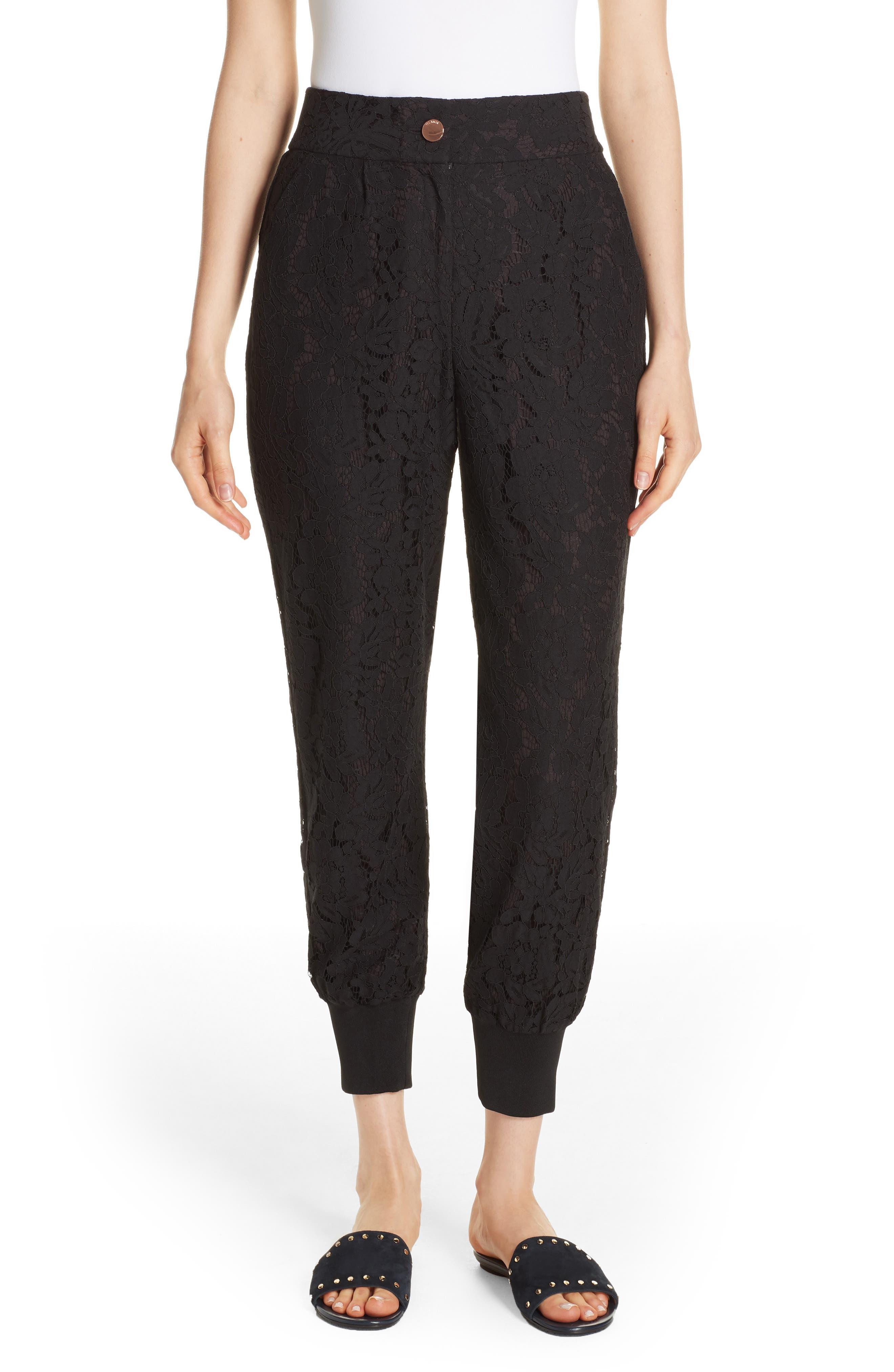 Cylar Lace Detail Formal Jogger Pants, Main, color, BLACK