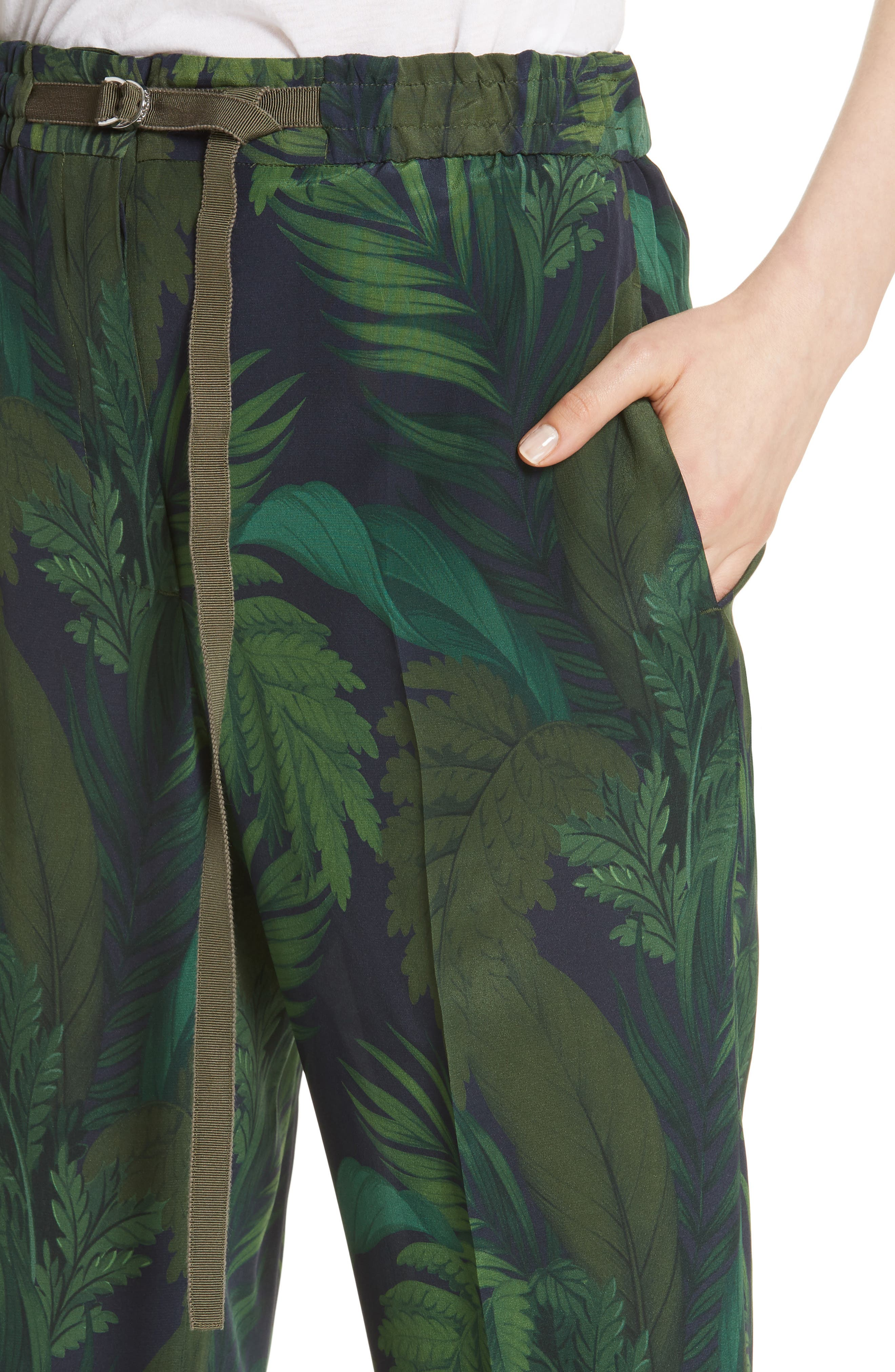 Palm Print Crop Silk Pants,                             Alternate thumbnail 4, color,                             300