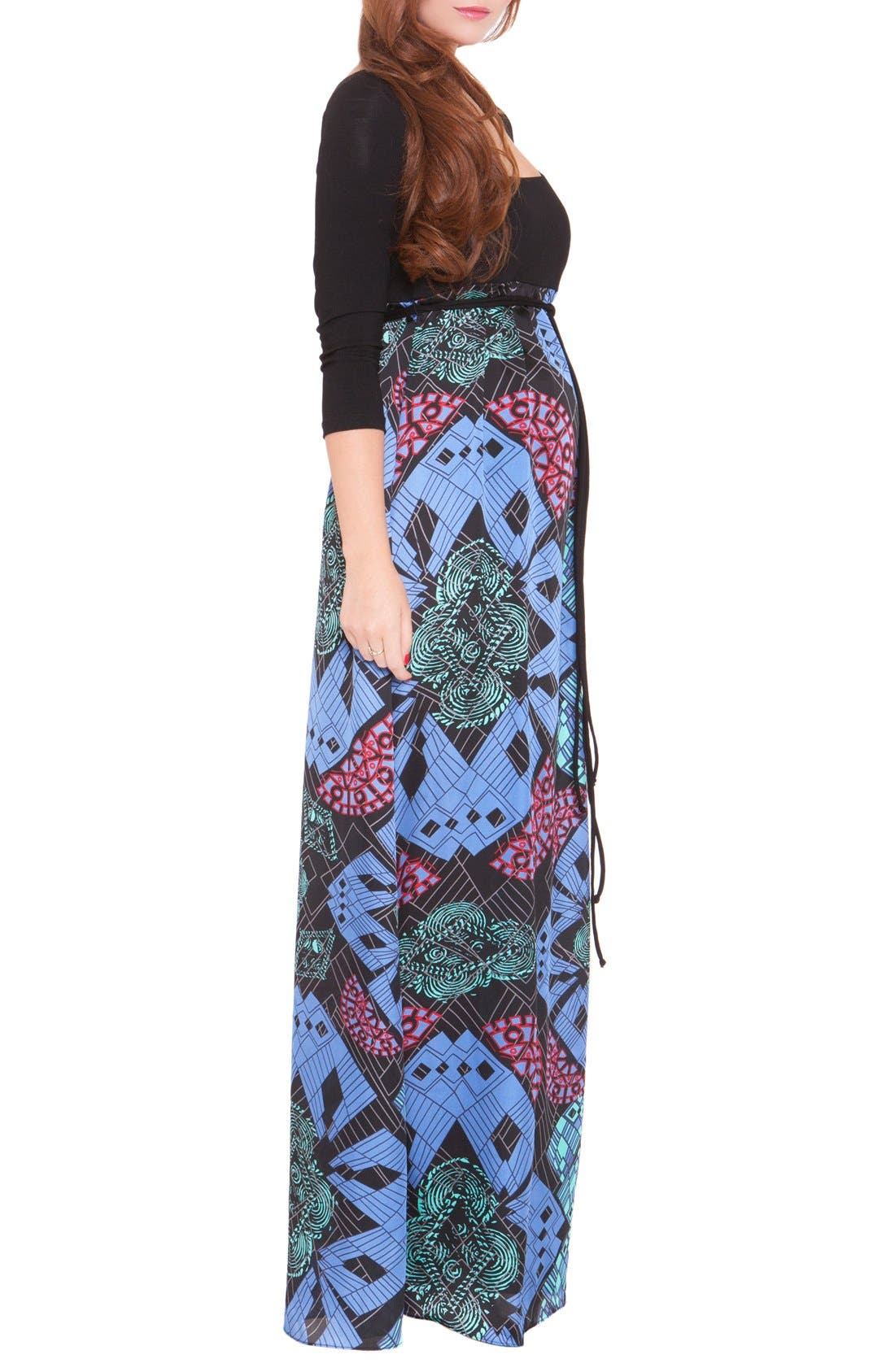 'Samantha' Maternity Maxi Dress,                             Alternate thumbnail 2, color,                             BLUE