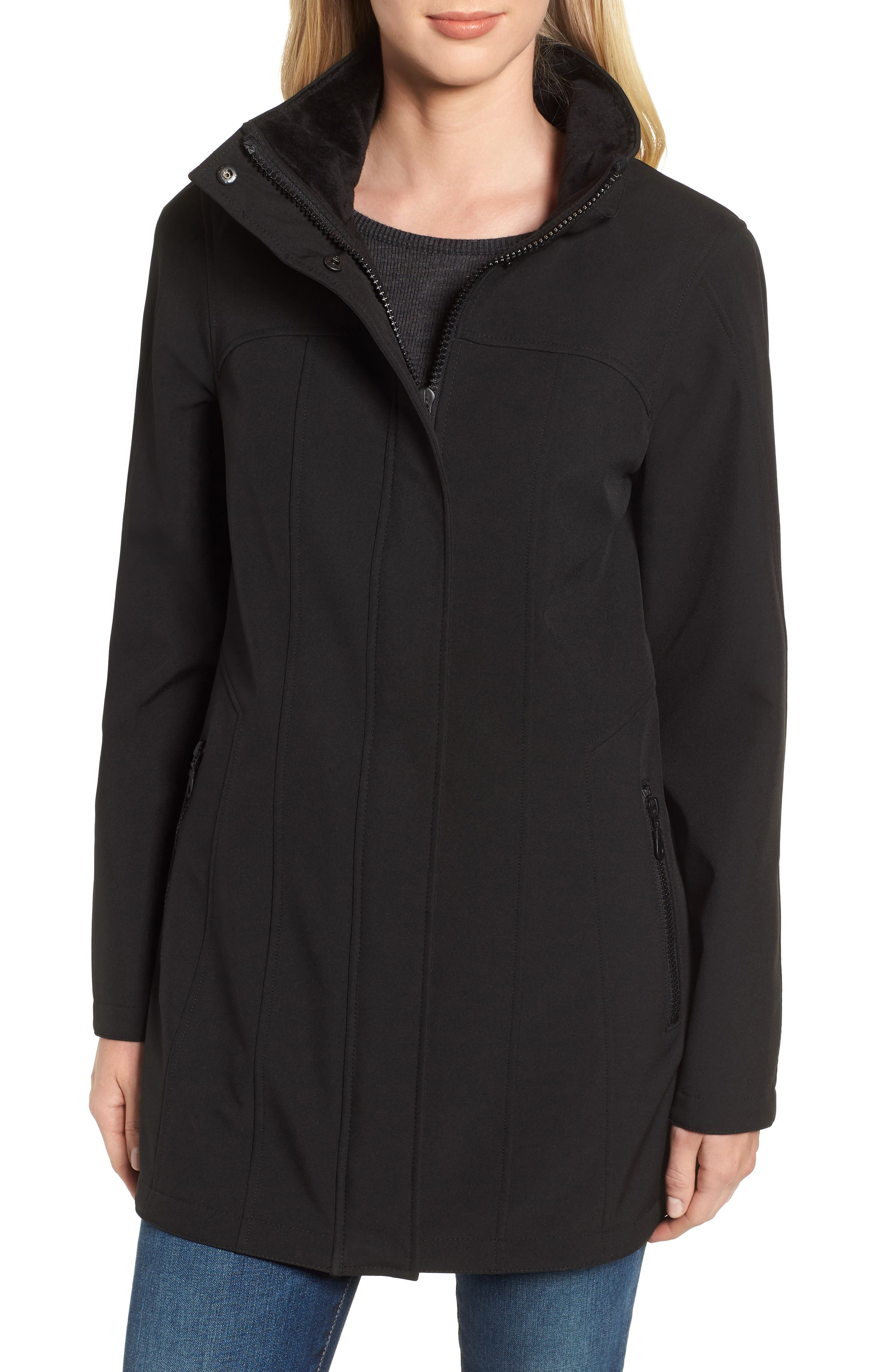 Hooded Soft Shell Jacket,                             Alternate thumbnail 4, color,                             BLACK