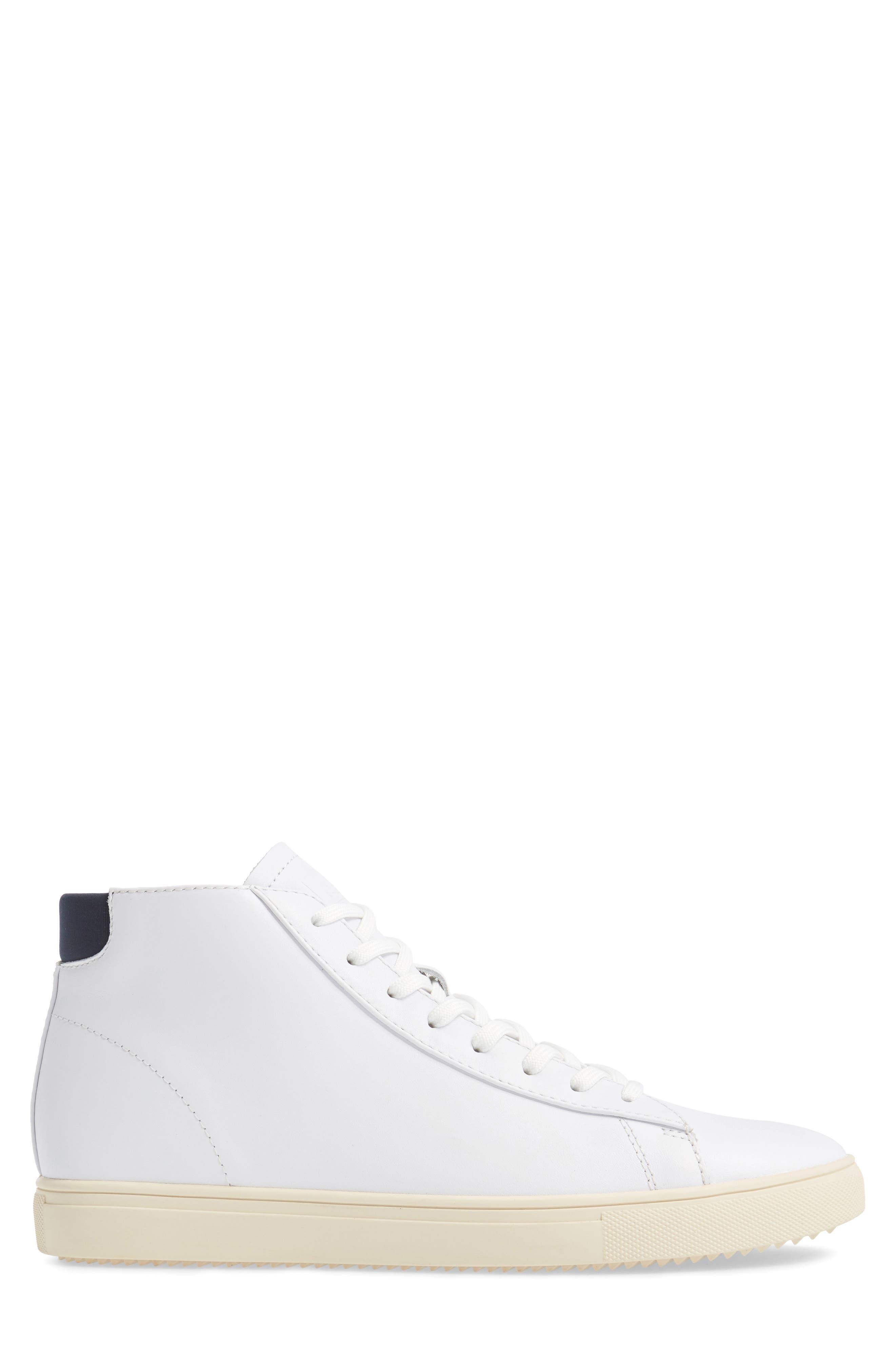'Bradley Mid' Sneaker,                             Alternate thumbnail 3, color,                             WHITE/WHITE LEATHER