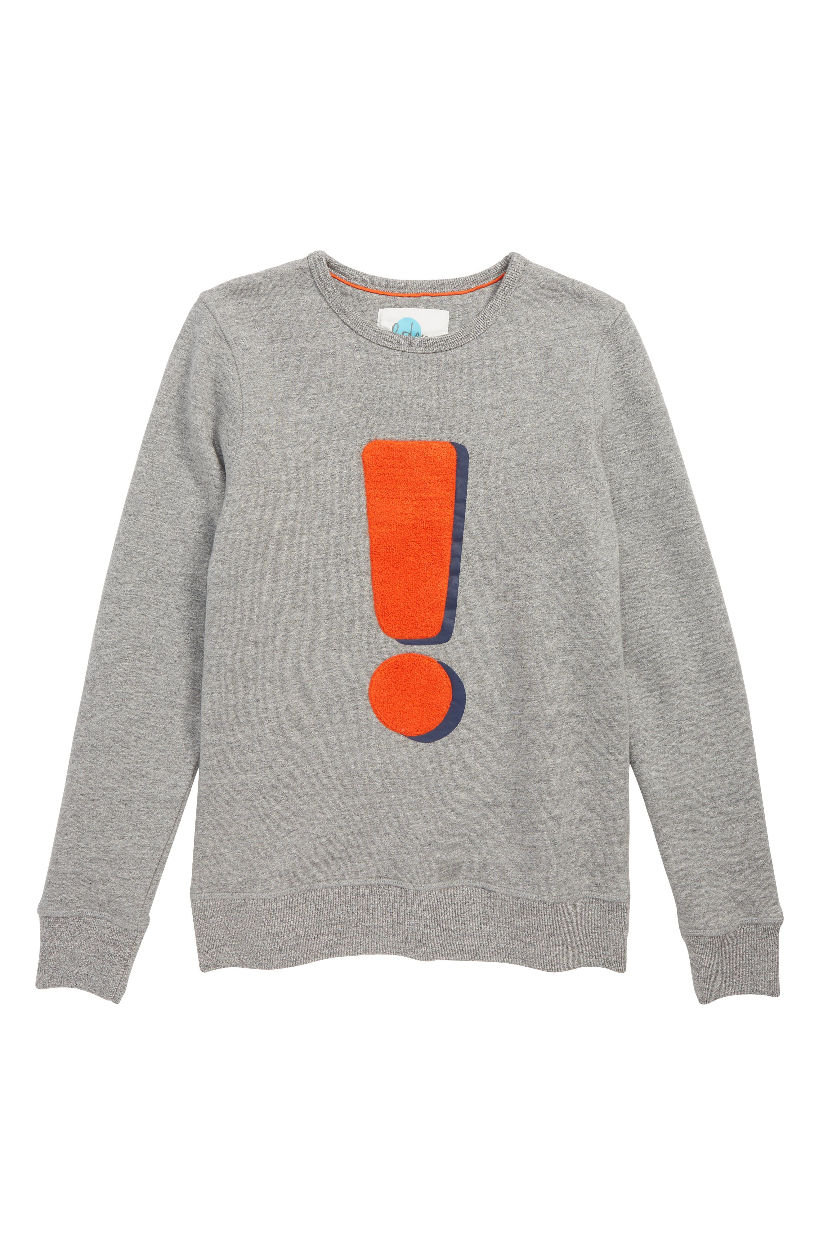 Exclamation Graphic Sweater,                         Main,                         color, GREY MARL