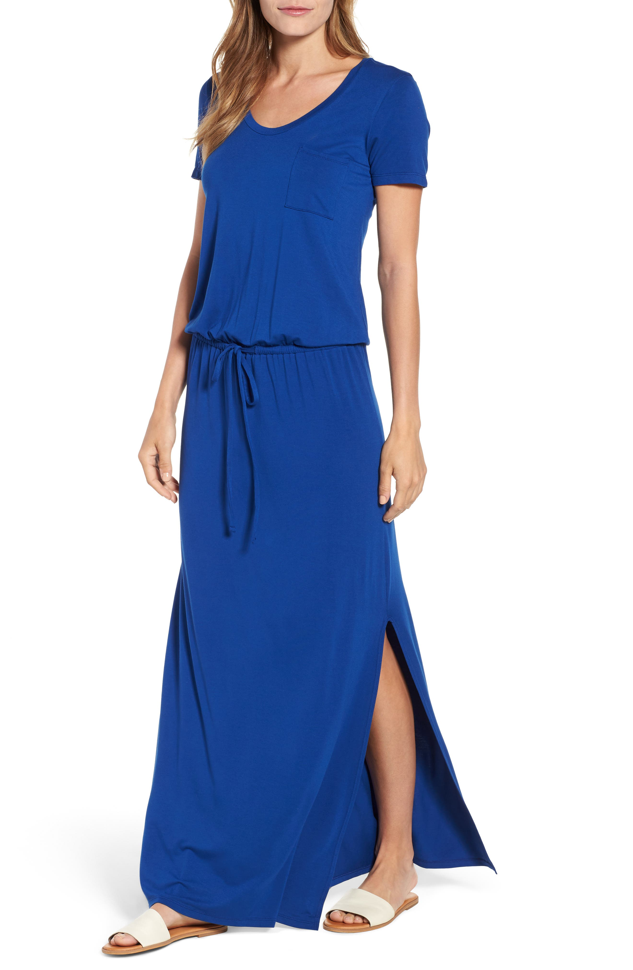 Drawstring V-Neck Jersey Maxi Dress,                             Alternate thumbnail 4, color,                             401