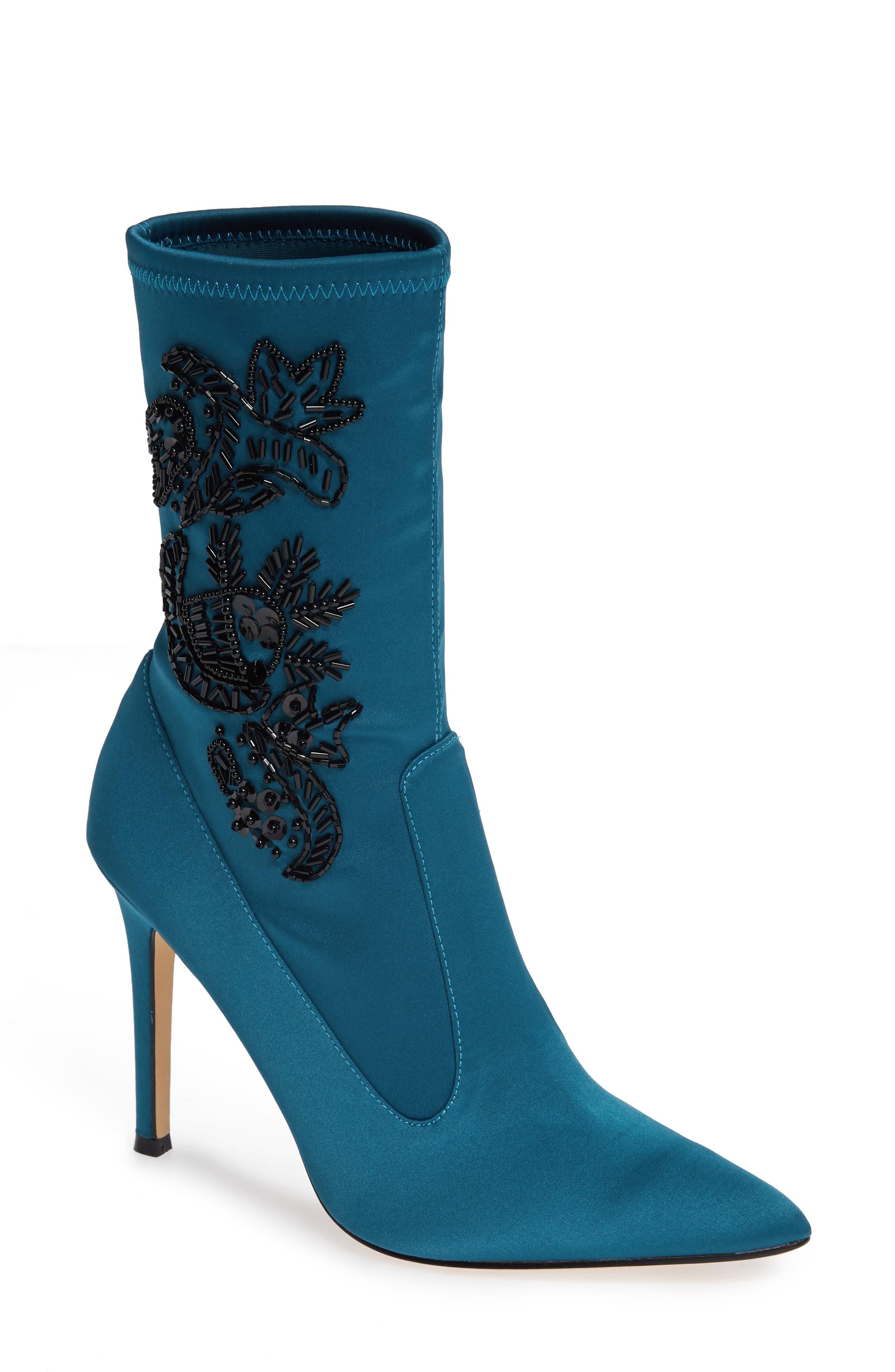 Nina Dorella Pointy Toe Bootie, Blue/green