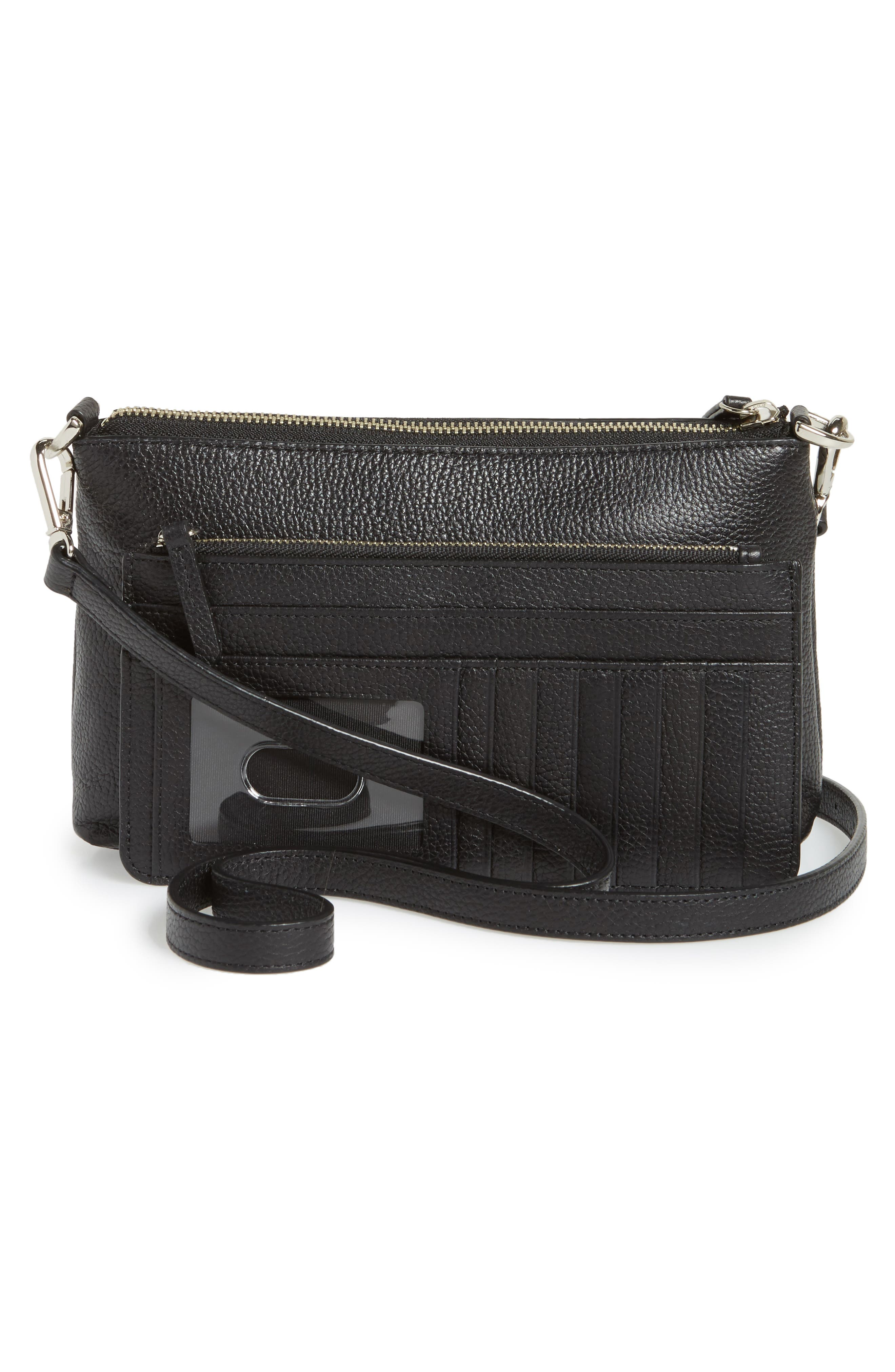 Brixton Convertible Leather Crossbody Bag with Pop-Out Card Holder,                             Alternate thumbnail 8, color,                             001