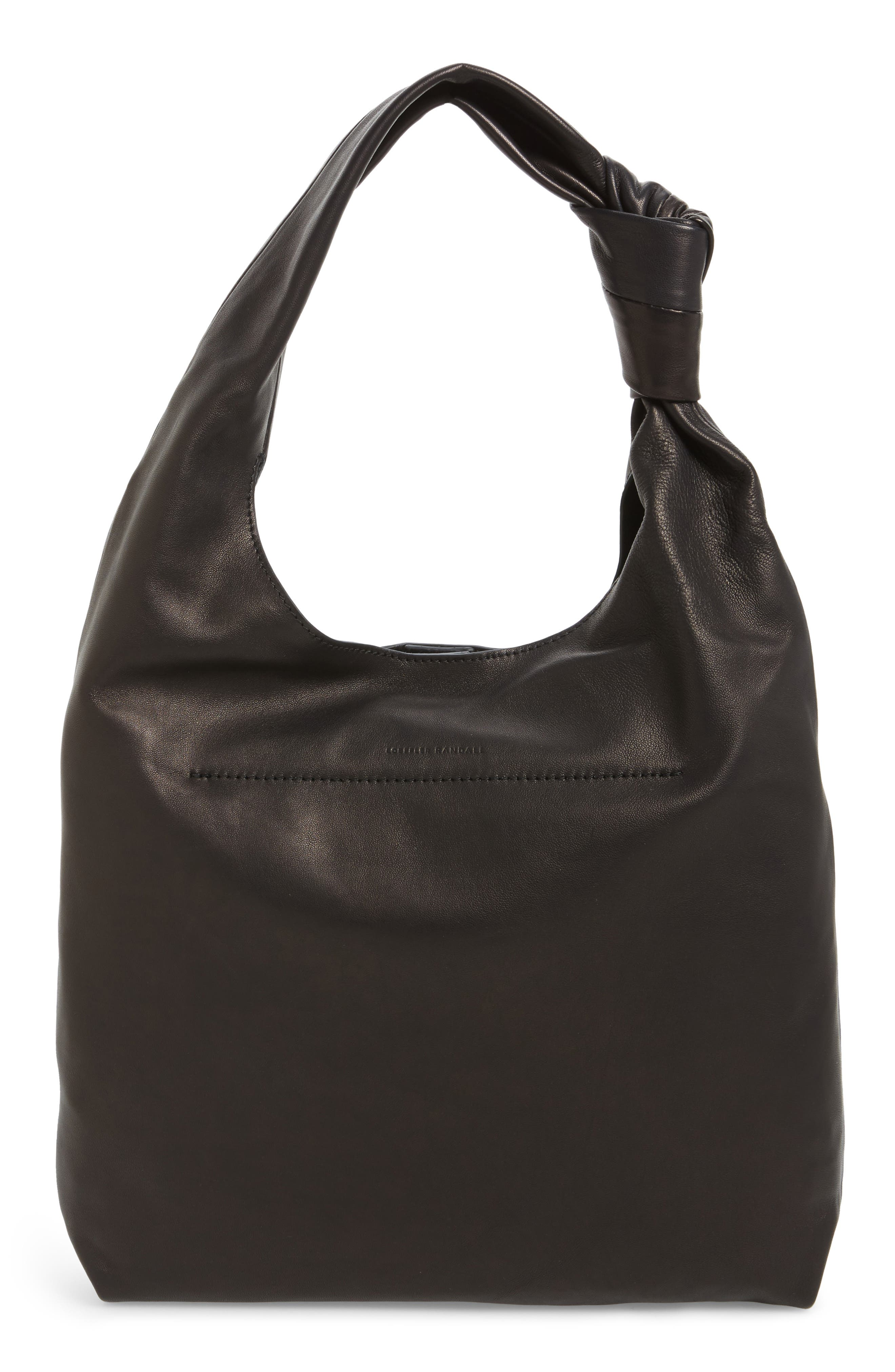 Knot Leather Tote,                             Alternate thumbnail 3, color,                             001