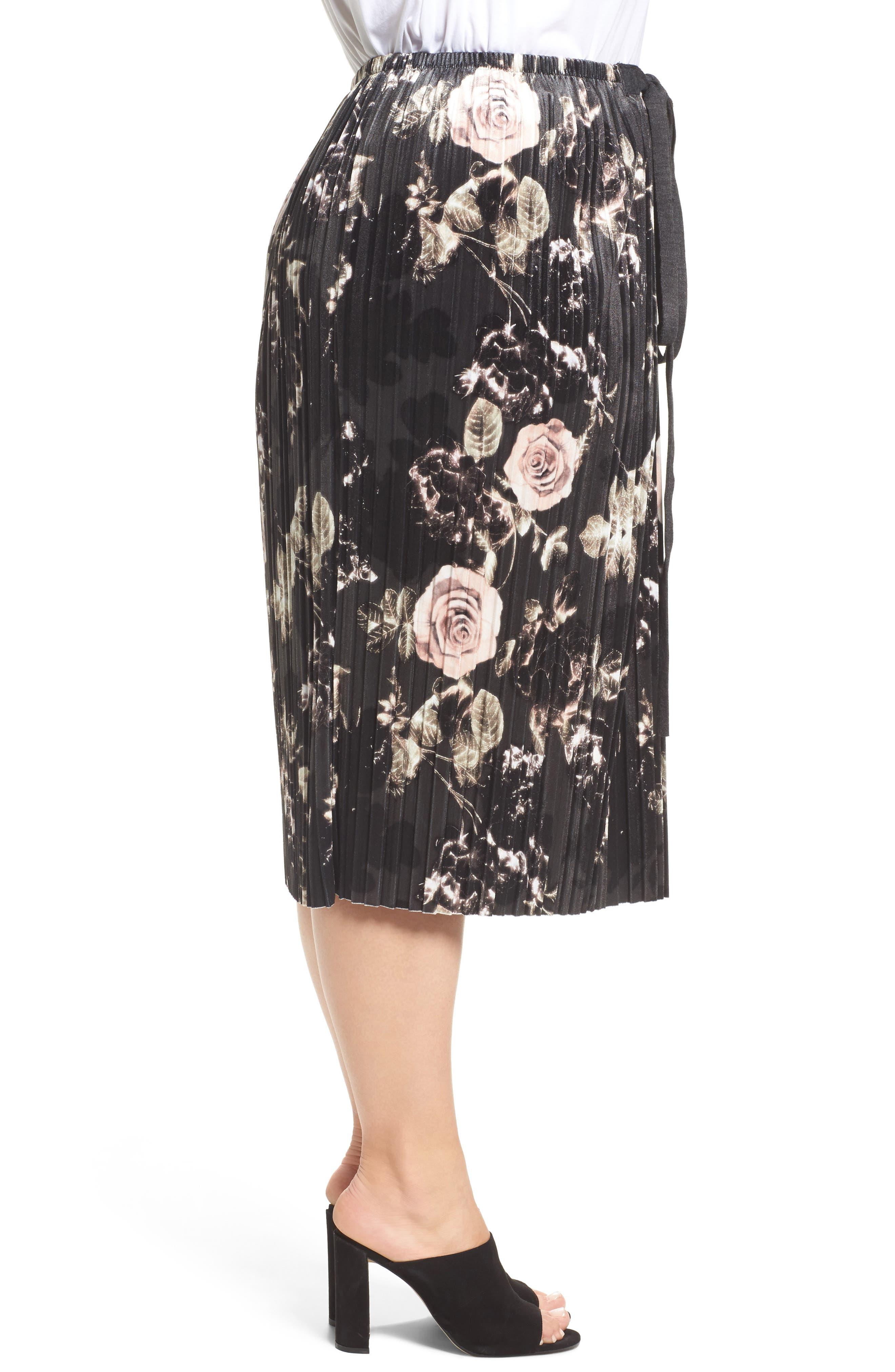 Rose Print Pleated Velvet Pencil Skirt,                             Alternate thumbnail 3, color,                             333