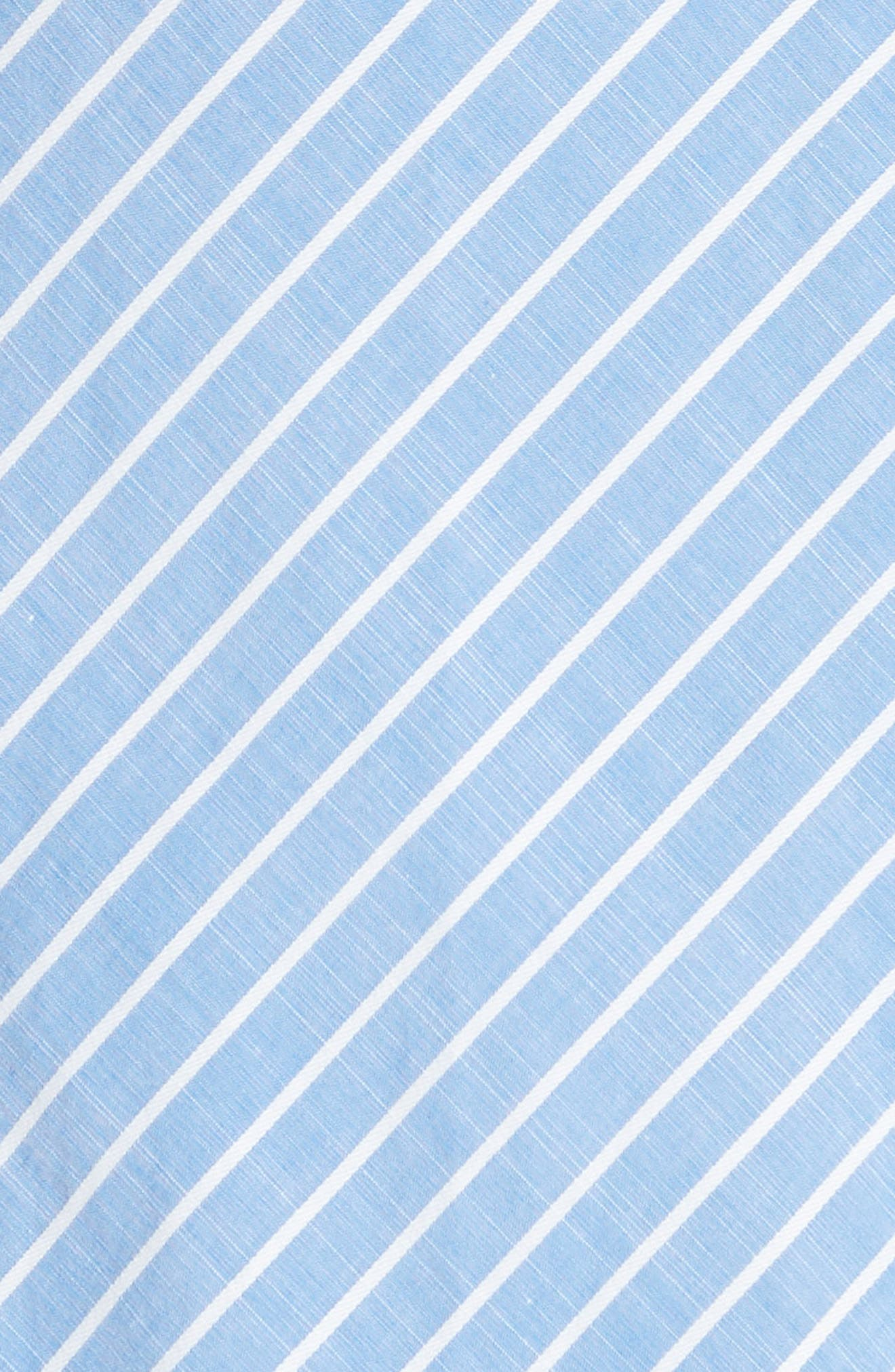 Eberta Stripe High/Low Dress,                             Alternate thumbnail 6, color,                             FRENCH CHAMBRAY