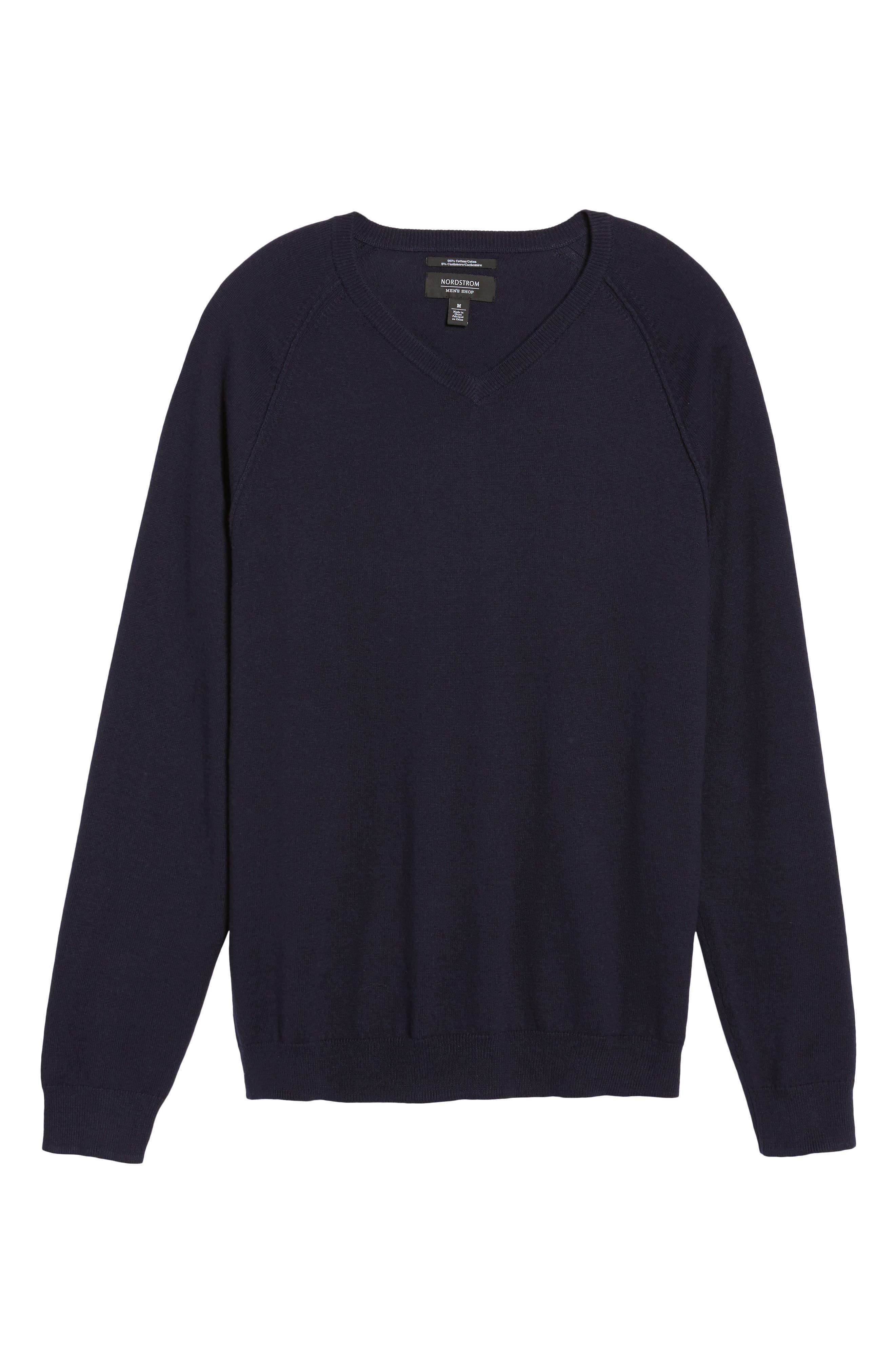 Saddle Shoulder Cotton & Cashmere V-Neck Sweater,                             Alternate thumbnail 47, color,
