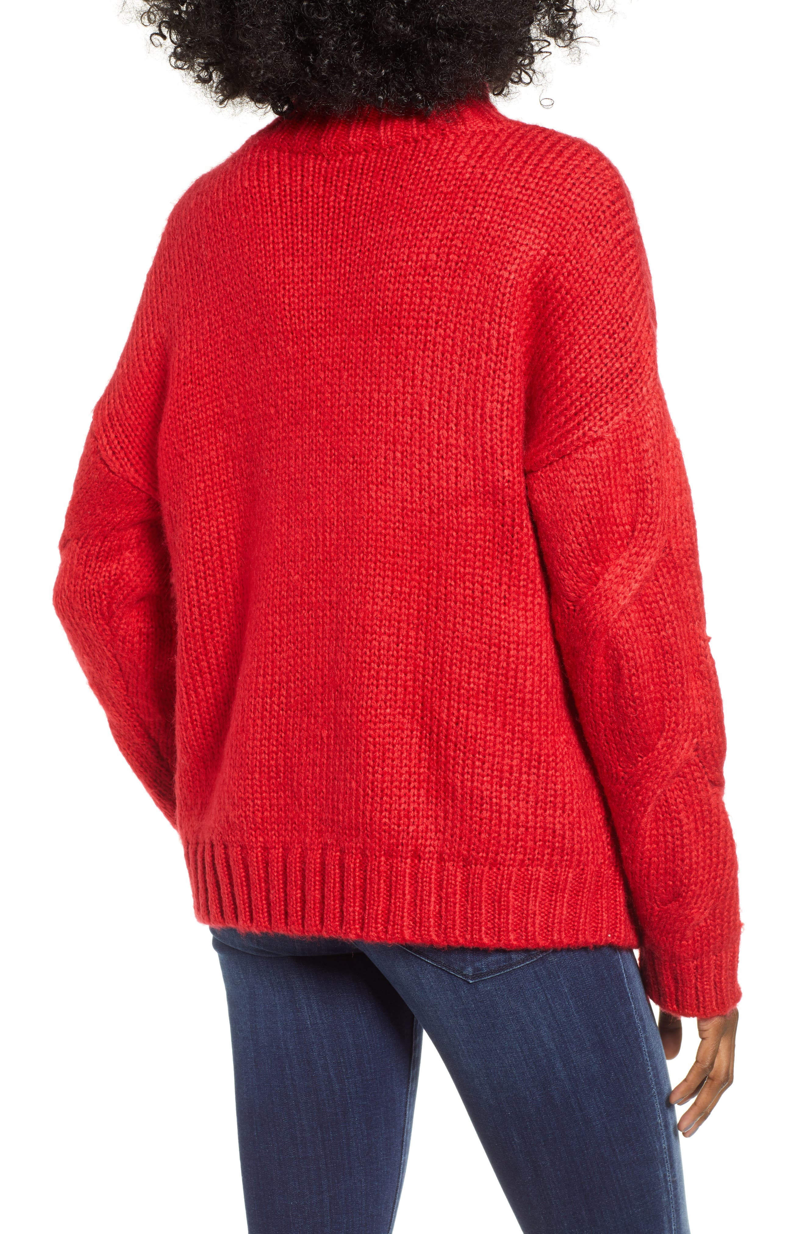 Cable Mock Neck Sweater,                             Alternate thumbnail 2, color,                             RED