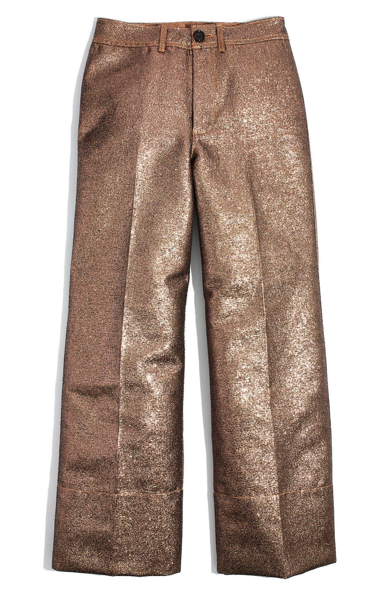 Langford Metallic Crop Wide Leg Pants,                             Alternate thumbnail 4, color,                             220