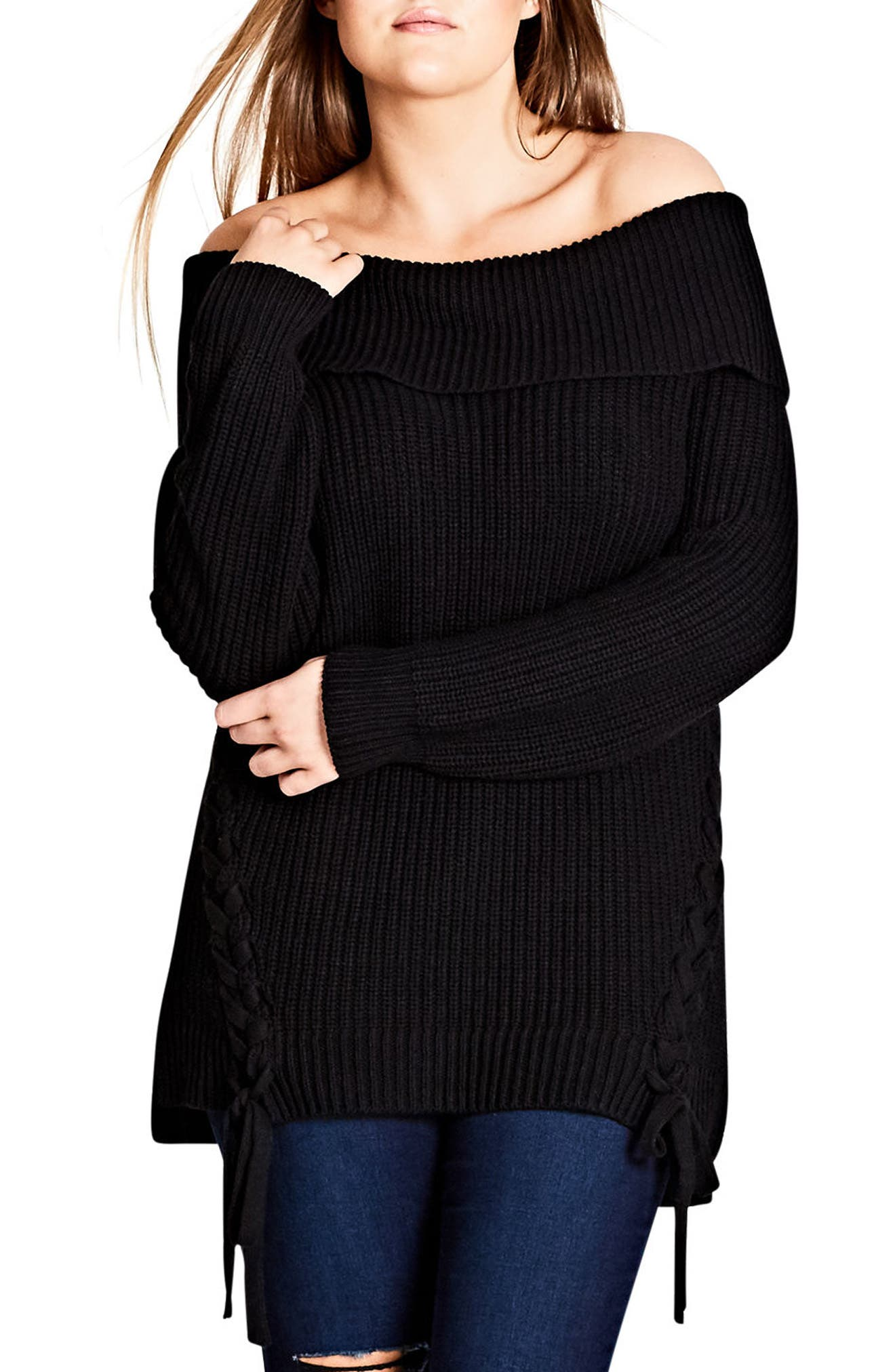 Intertwine Convertible Lace-Up Pullover,                             Main thumbnail 1, color,                             001
