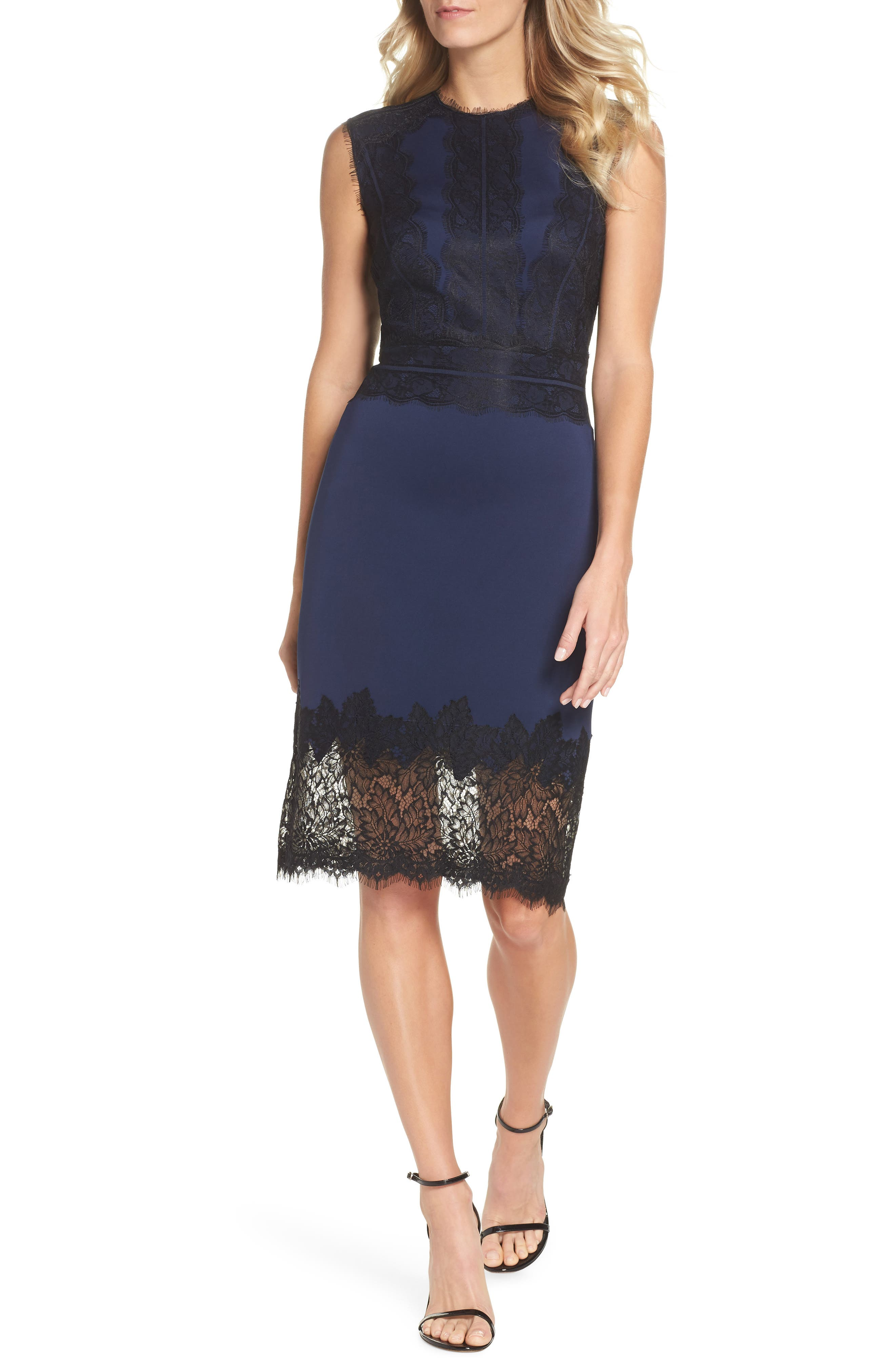 Lace Trim Sheath Dress,                         Main,                         color, MIDNIGHT/ BLACK
