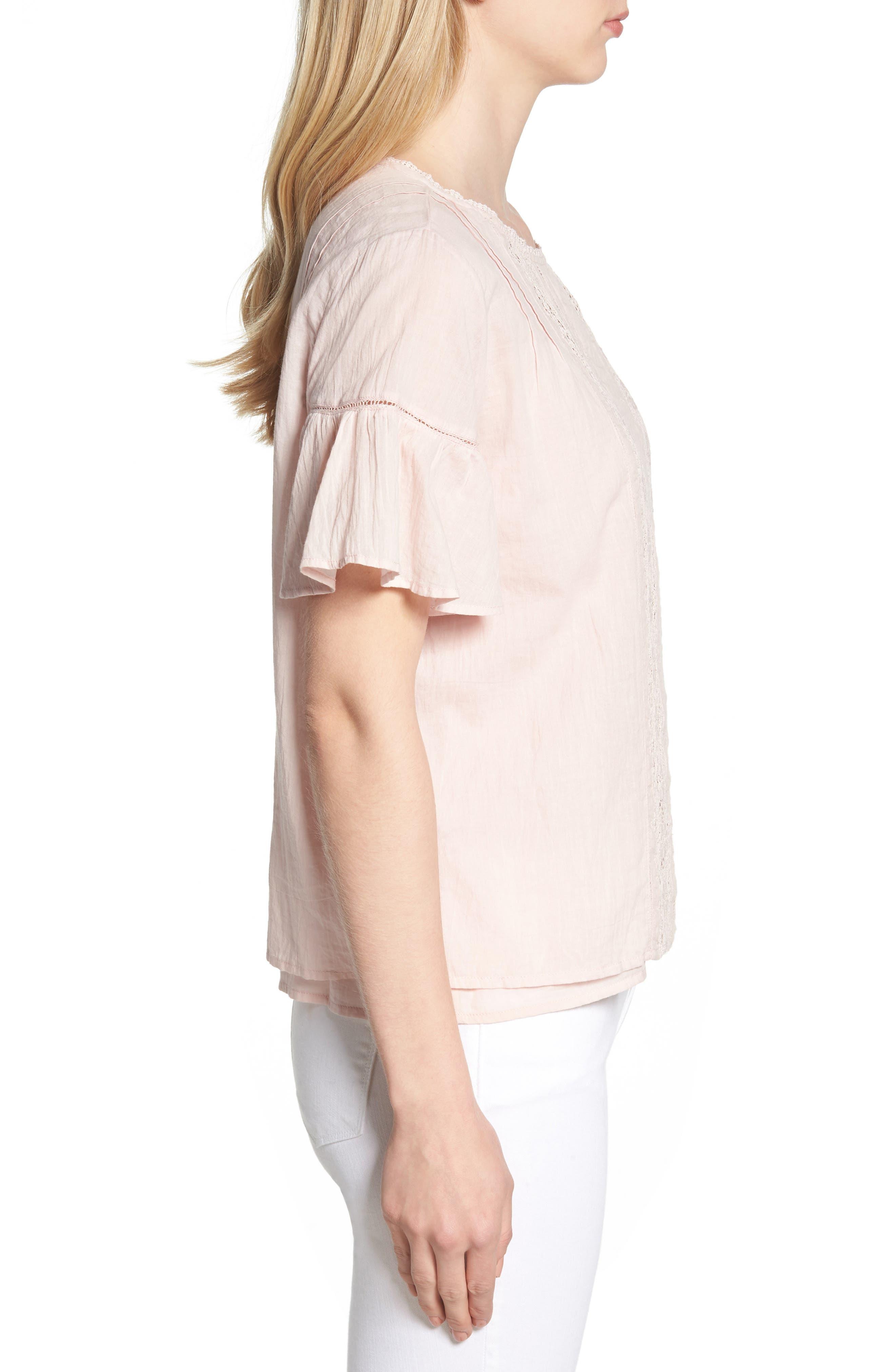 Cotton Lace Blouse,                             Alternate thumbnail 3, color,                             PALE PINK