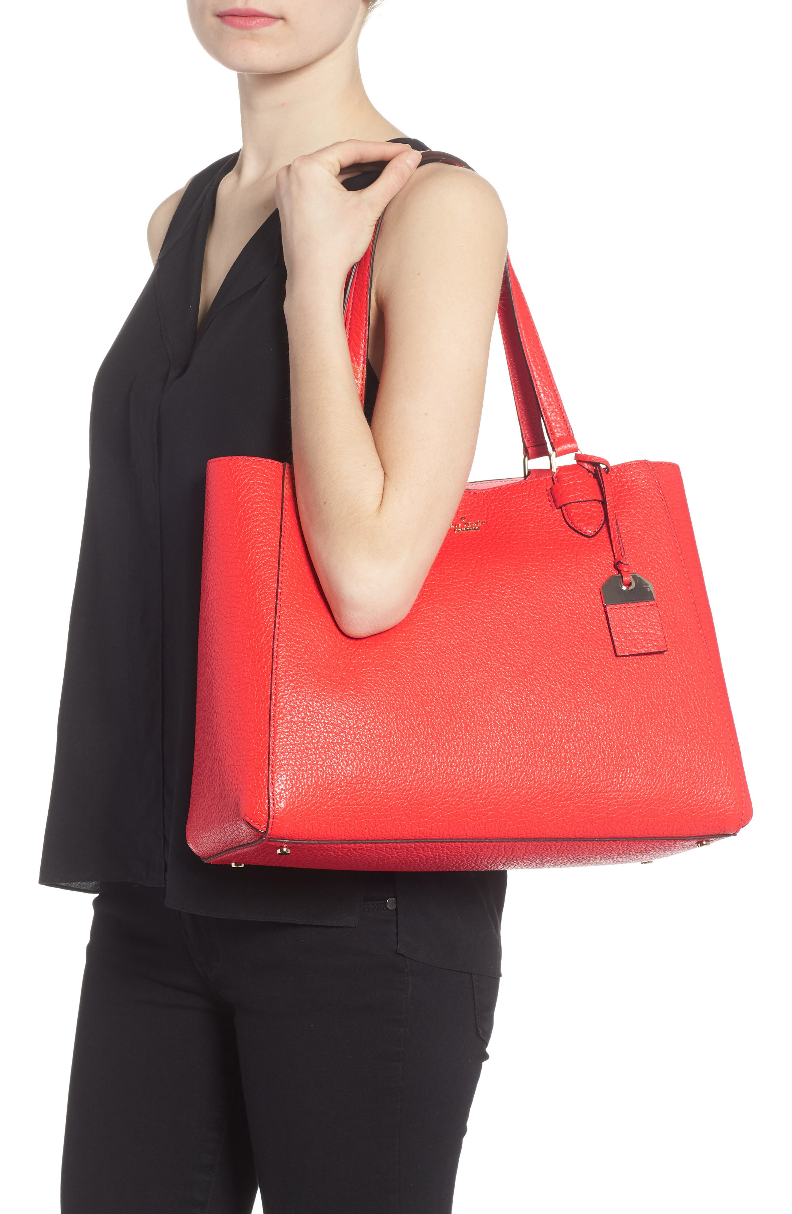 carter street - tyler leather tote,                             Alternate thumbnail 8, color,