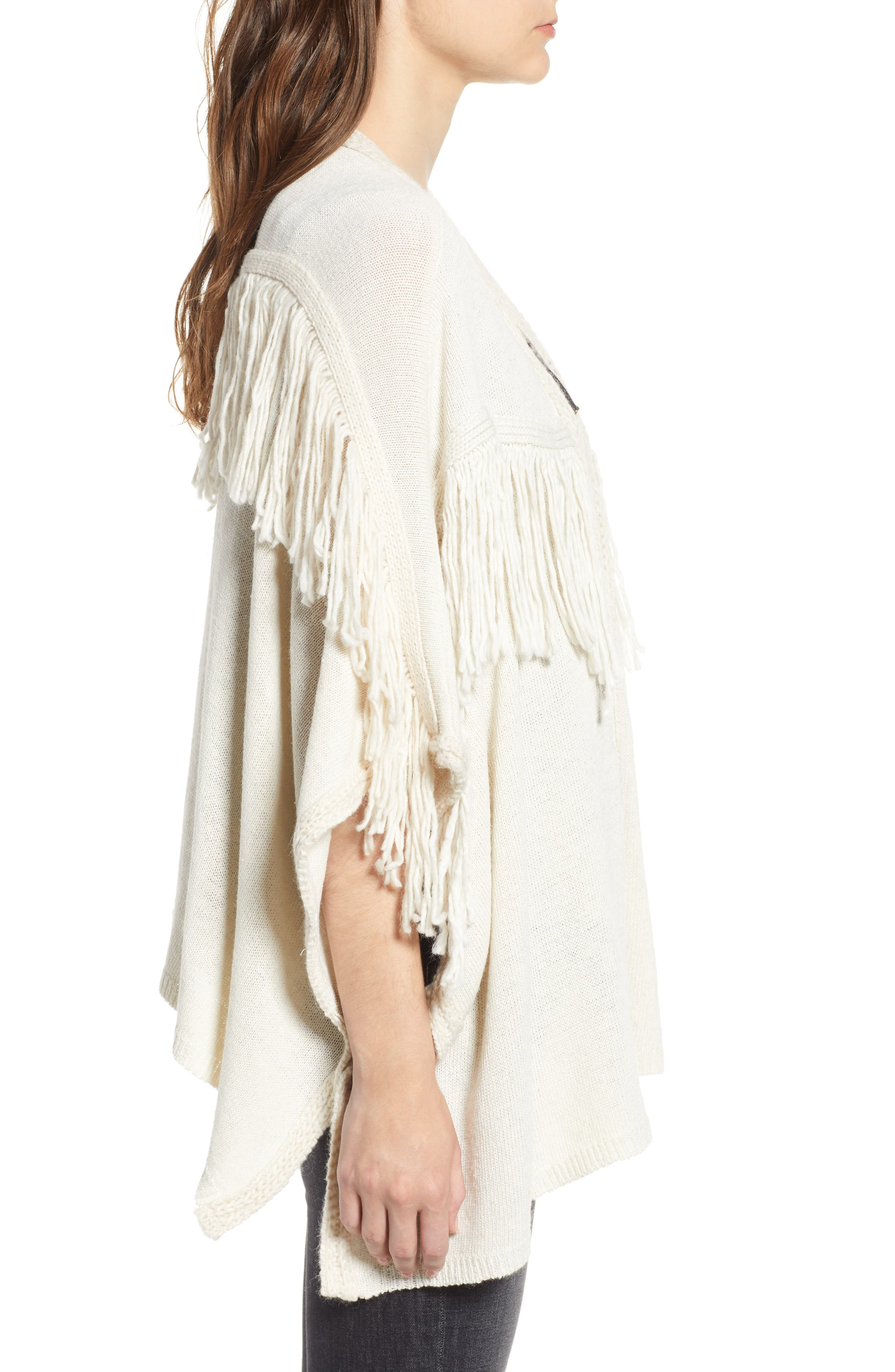 Bishop + Young Fringe Open Front Cardigan,                             Alternate thumbnail 3, color,                             IVORY