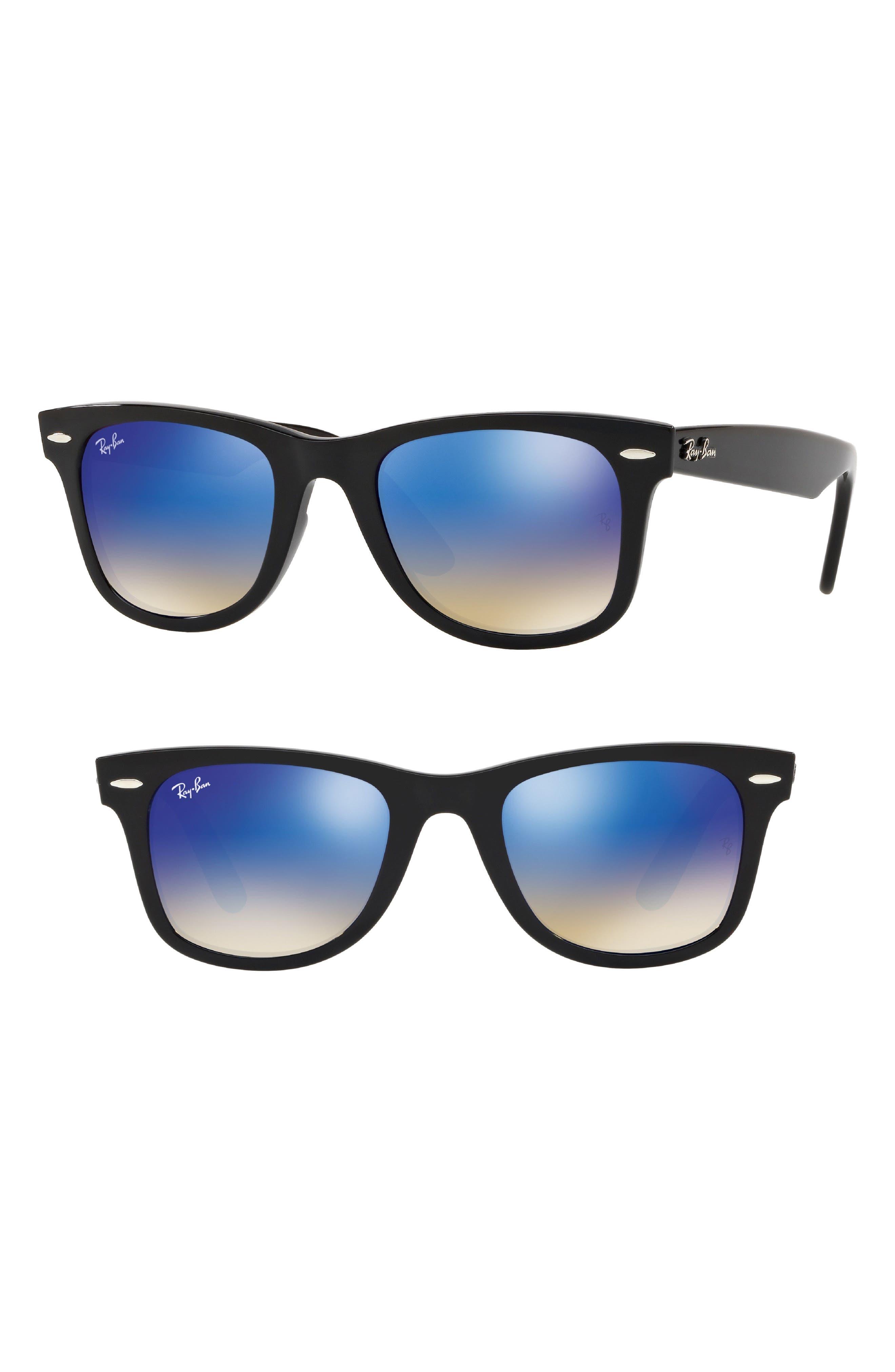 Wayfarer 50mm Mirrored Sunglasses, Main, color, BLACK