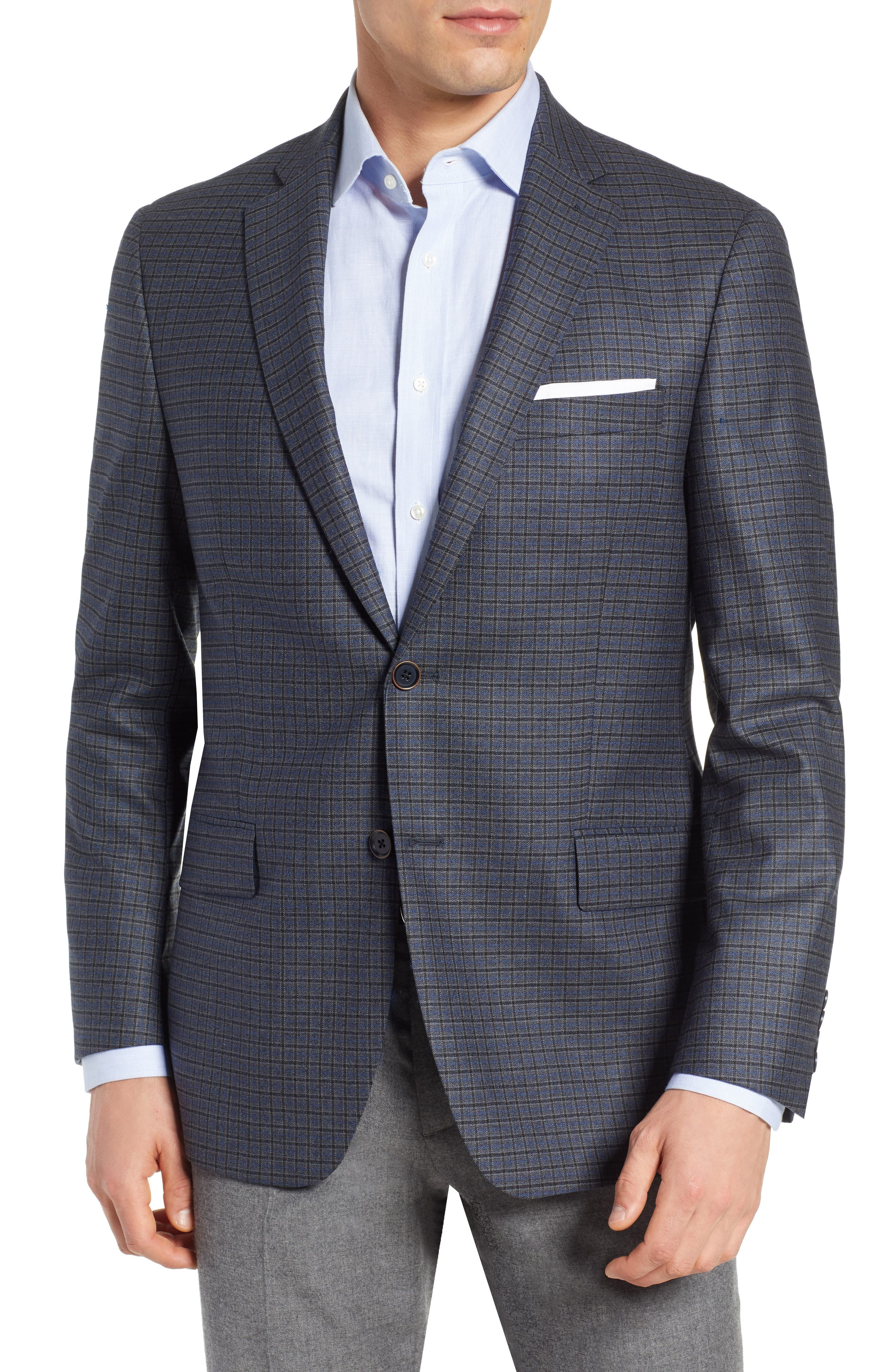 HART SCHAFFNER MARX Classic Fit Stretch Check Wool Sport Coat, Main, color, 420