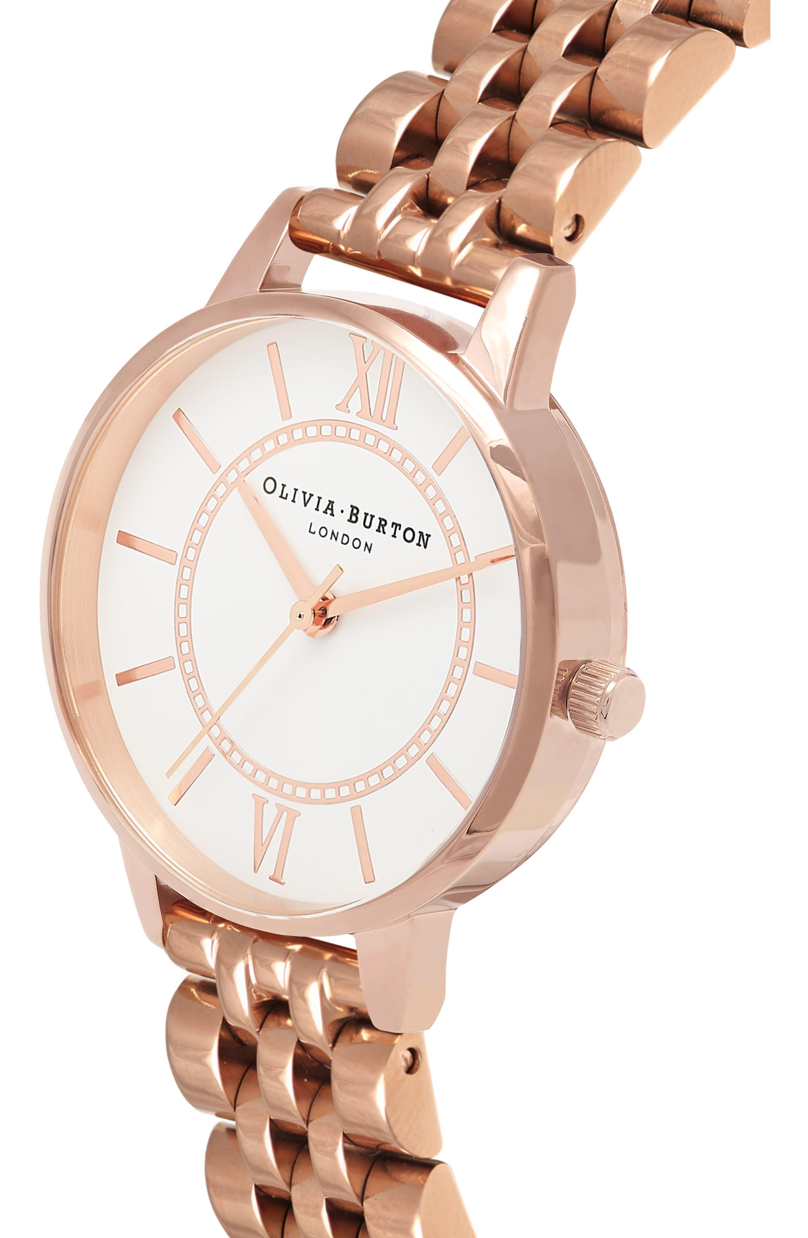 OLIVIA BURTON,                             Wonderland Bracelet Watch, 30mm,                             Alternate thumbnail 4, color,                             ROSE GOLD/ HITE/ ROSE GOLD