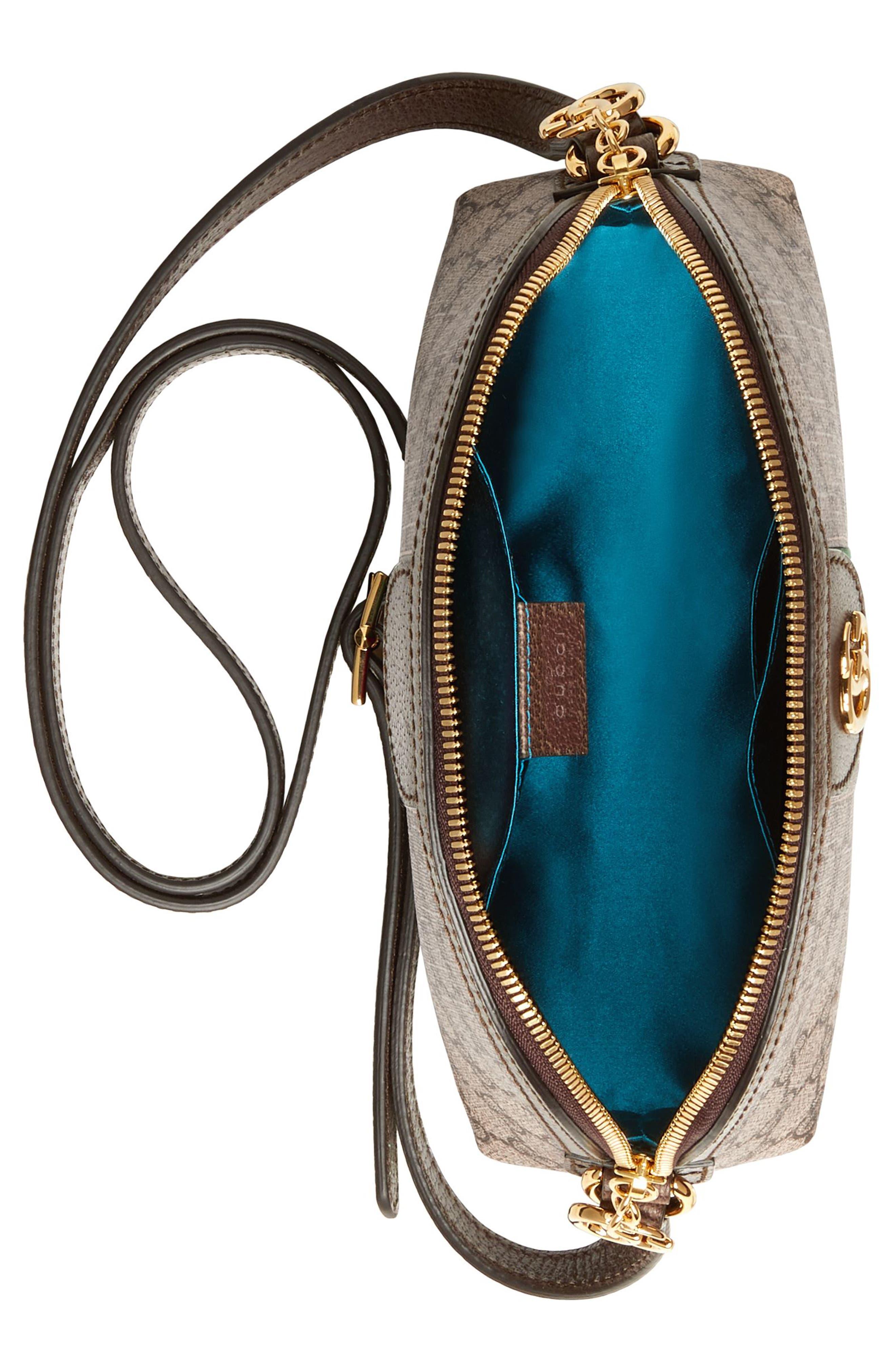 GG Supreme Canvas Shoulder Bag,                             Alternate thumbnail 4, color,                             BEIGE EBONY/ NERO/ RED
