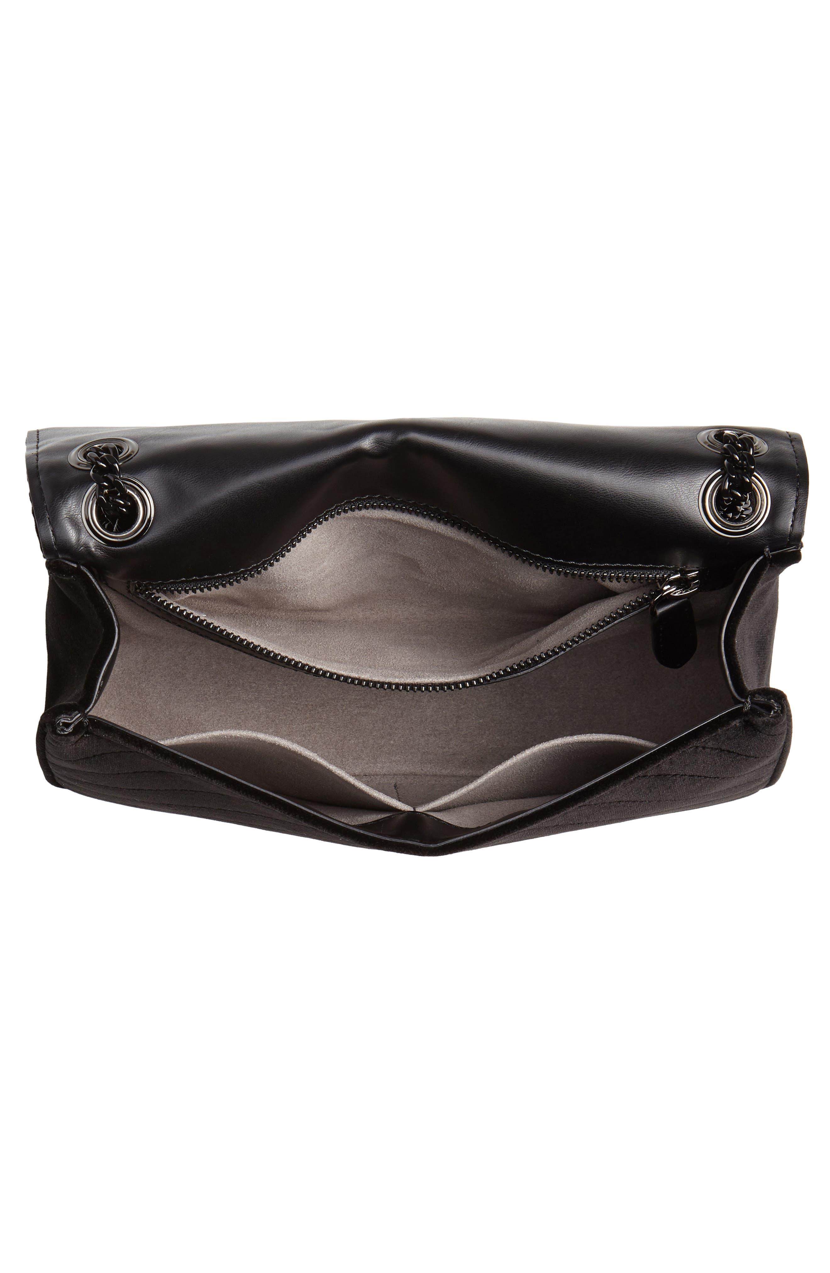 Medium Velvet Star Shoulder Bag,                             Alternate thumbnail 4, color,                             BLACK