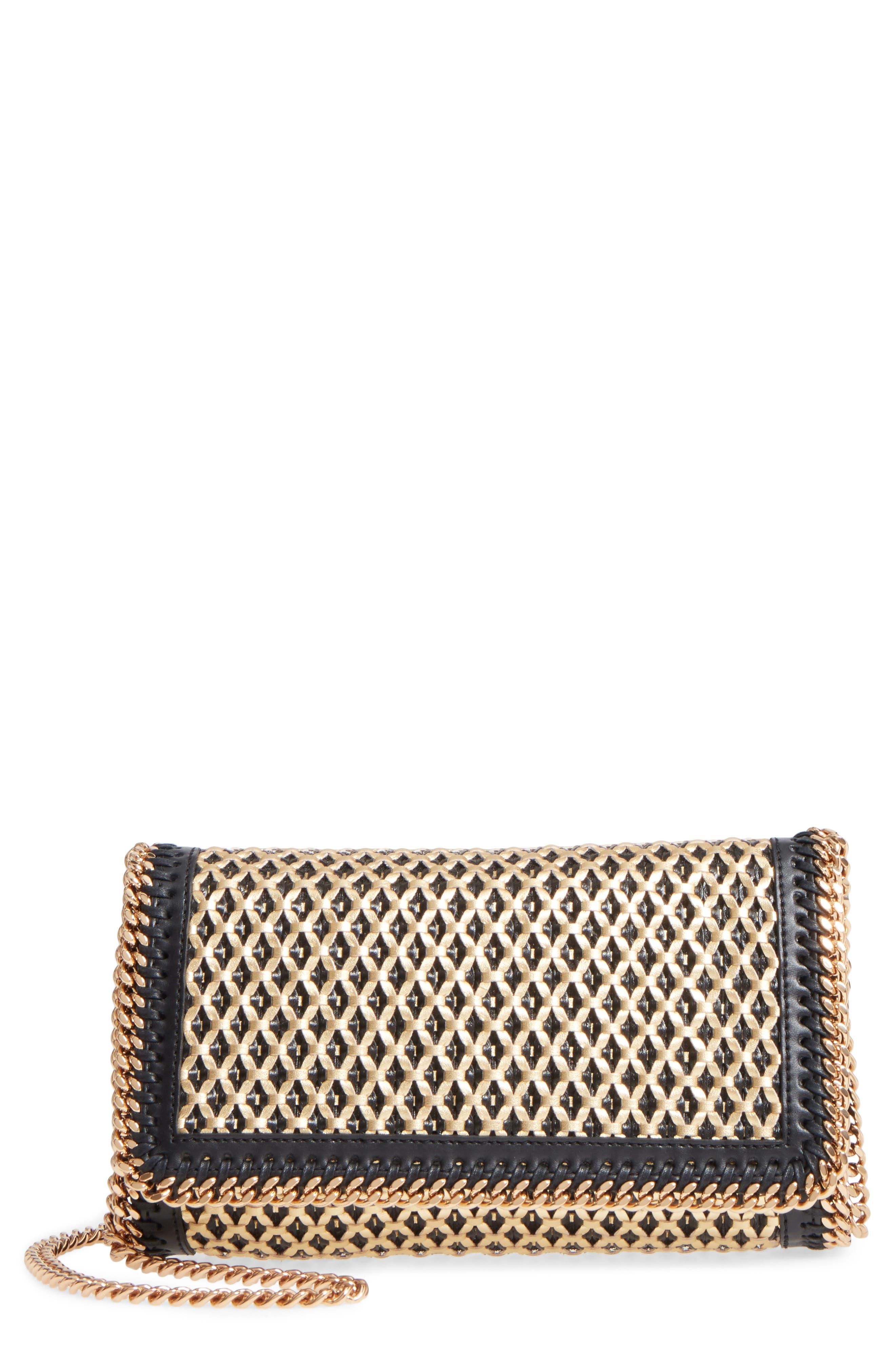 Falabella Woven Faux Leather Clutch,                         Main,                         color,
