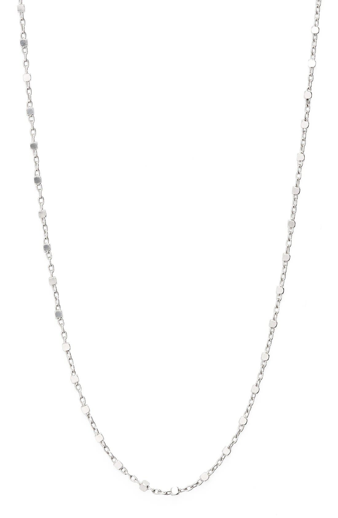 Beaded Chain Long Necklace,                             Alternate thumbnail 3, color,                             WHITE GOLD