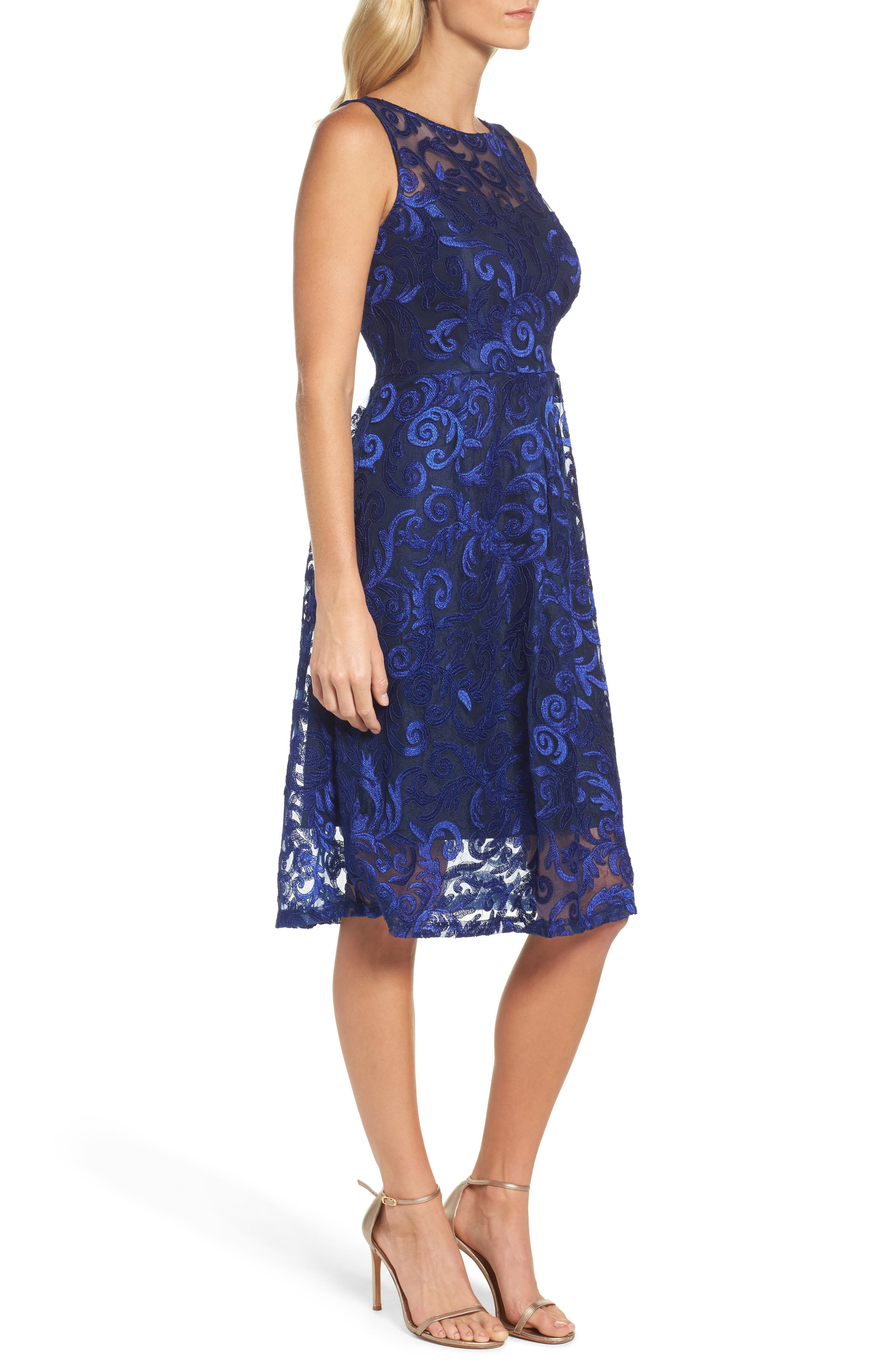 Floral Scroll Embroidered Cocktail Dress,                             Alternate thumbnail 3, color,                             430