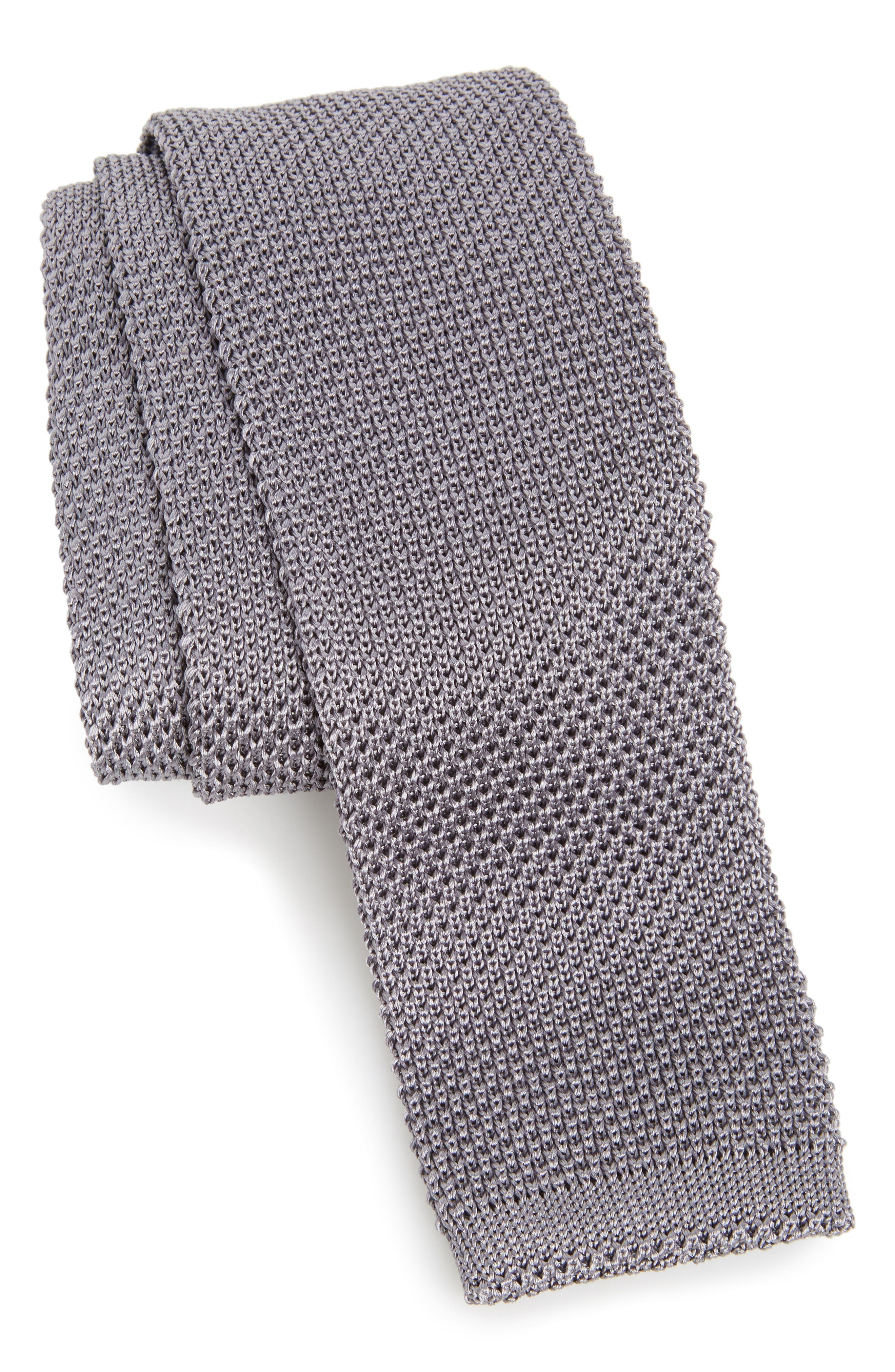 Stuart Silk Knit Tie,                             Main thumbnail 1, color,                             GREY