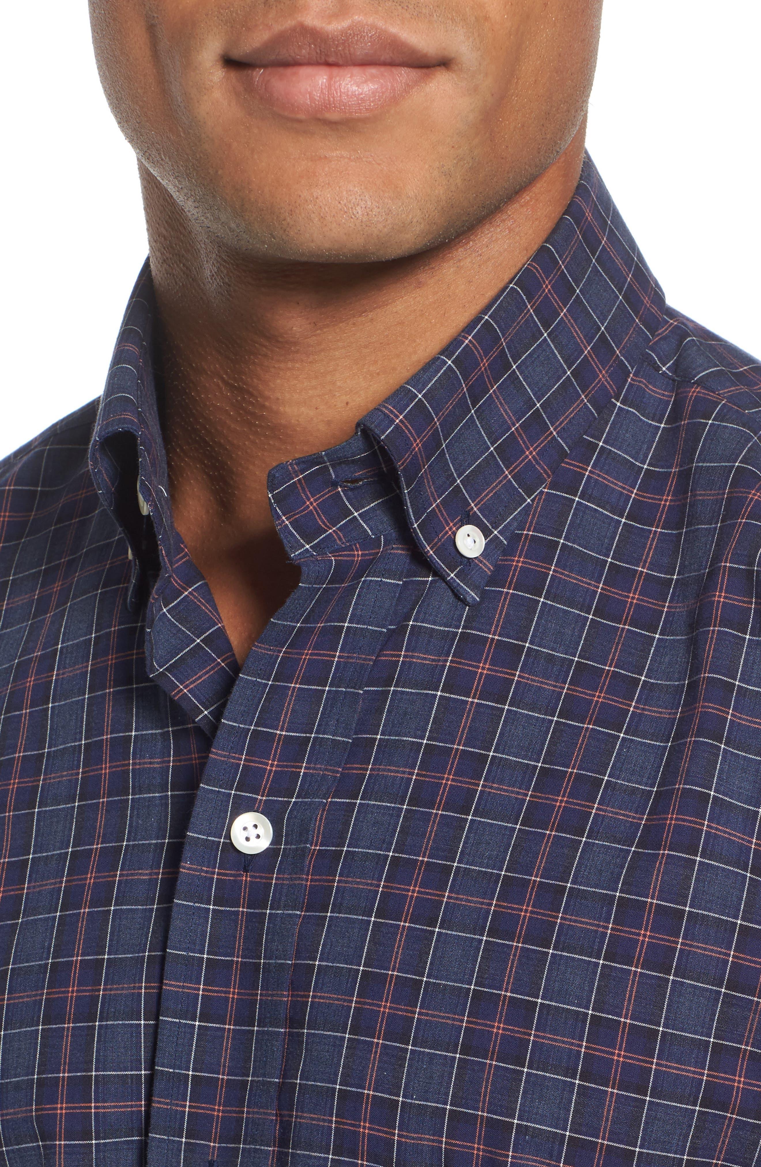 Slim Fit Plaid Sport Shirt,                             Alternate thumbnail 4, color,