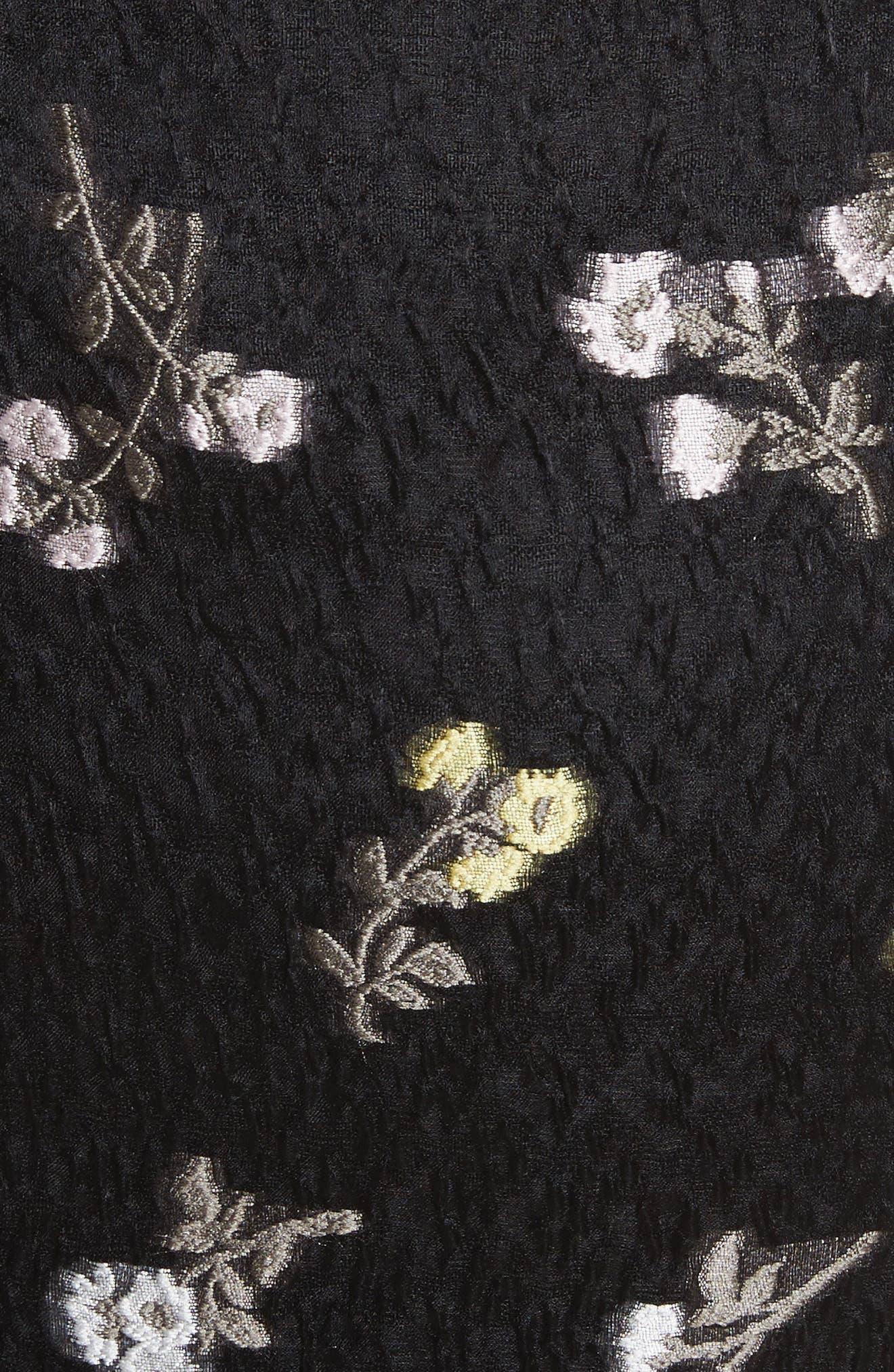 Floral Fil Coupé Organza Cloque,                             Alternate thumbnail 5, color,                             001